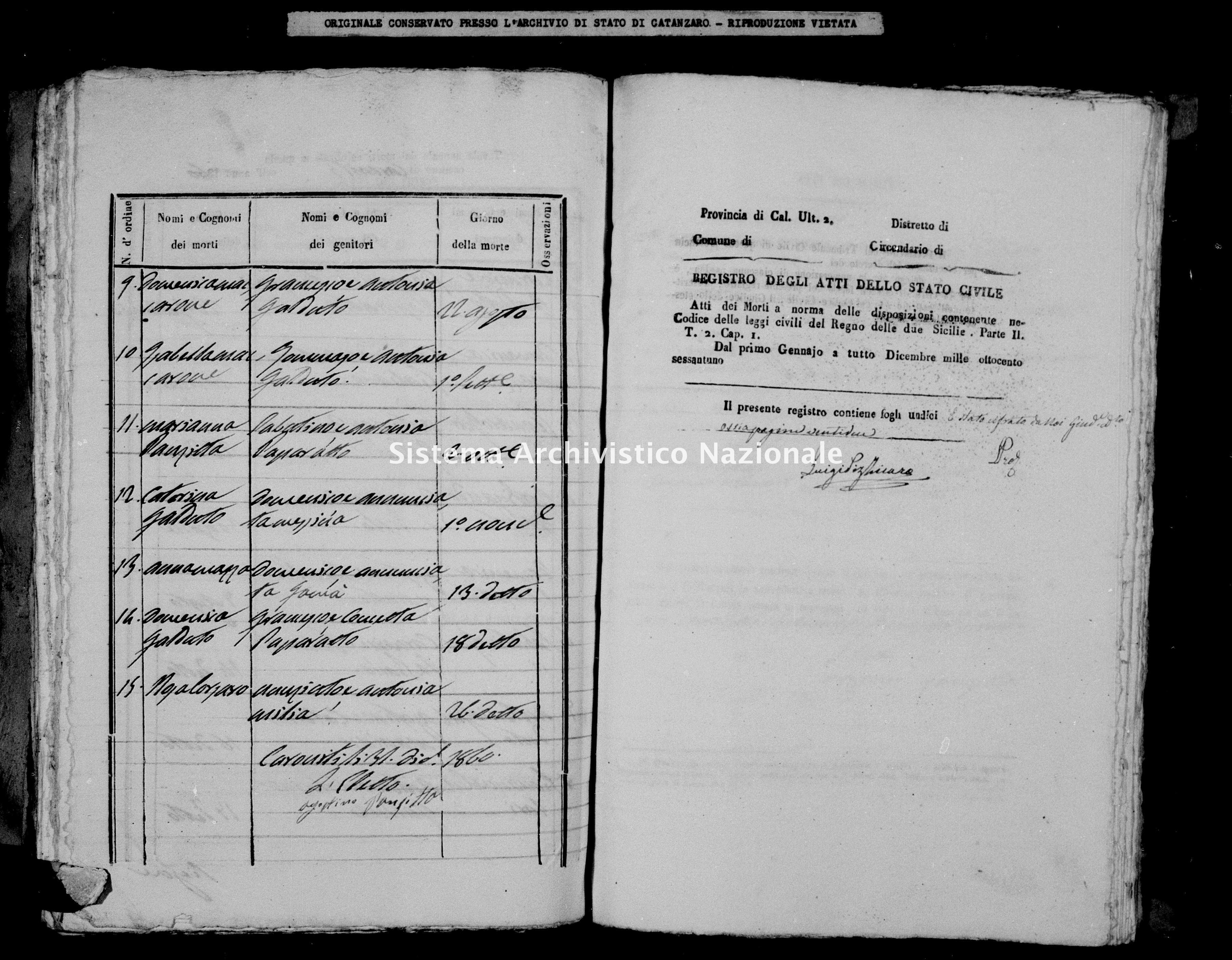Archivio di stato di Catanzaro - Stato civile italiano - Caroniti - Morti - 1861 -