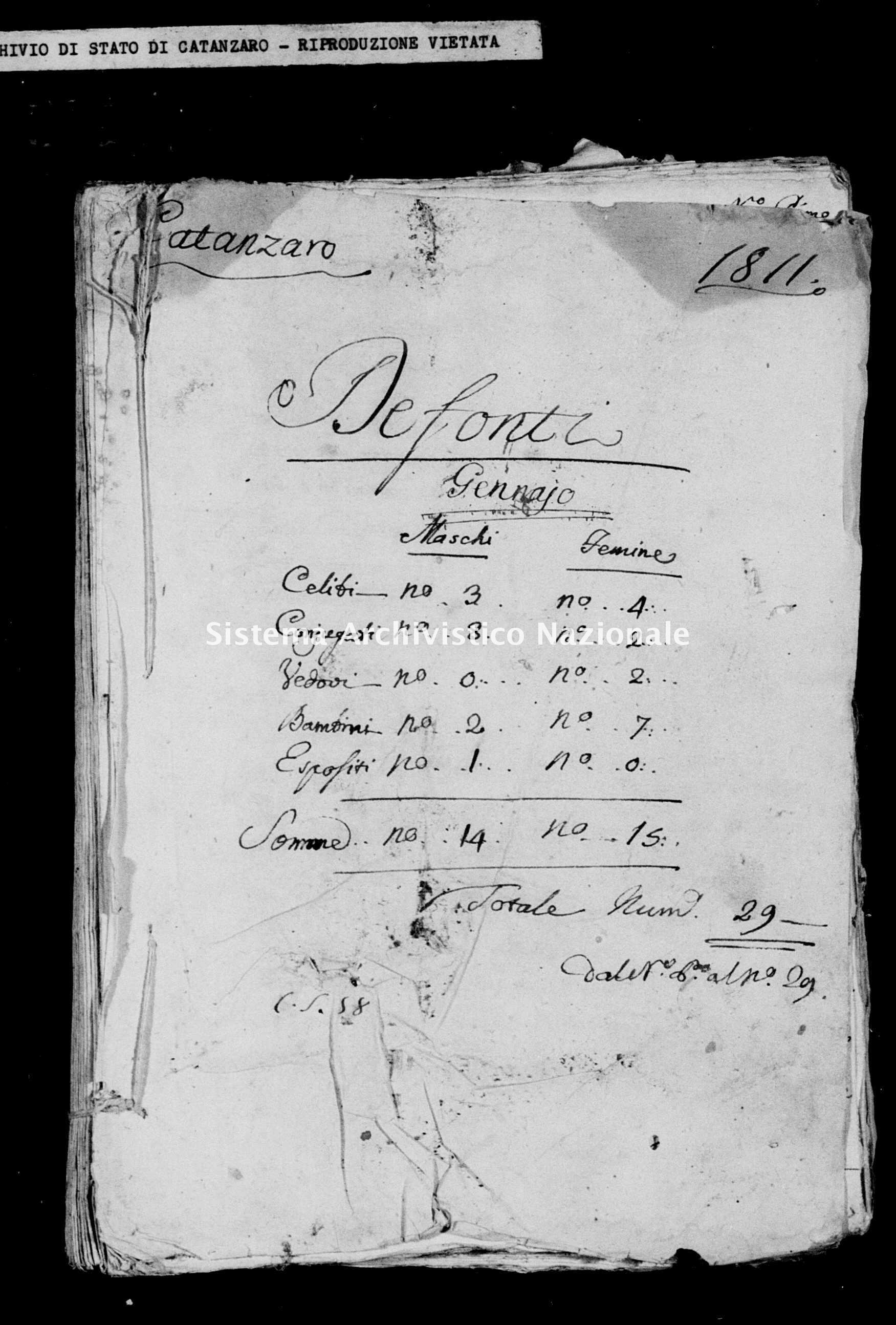 Archivio di stato di Catanzaro - Stato civile italiano - Catanzaro - Morti - 04/01/1811-30/05/1811 -