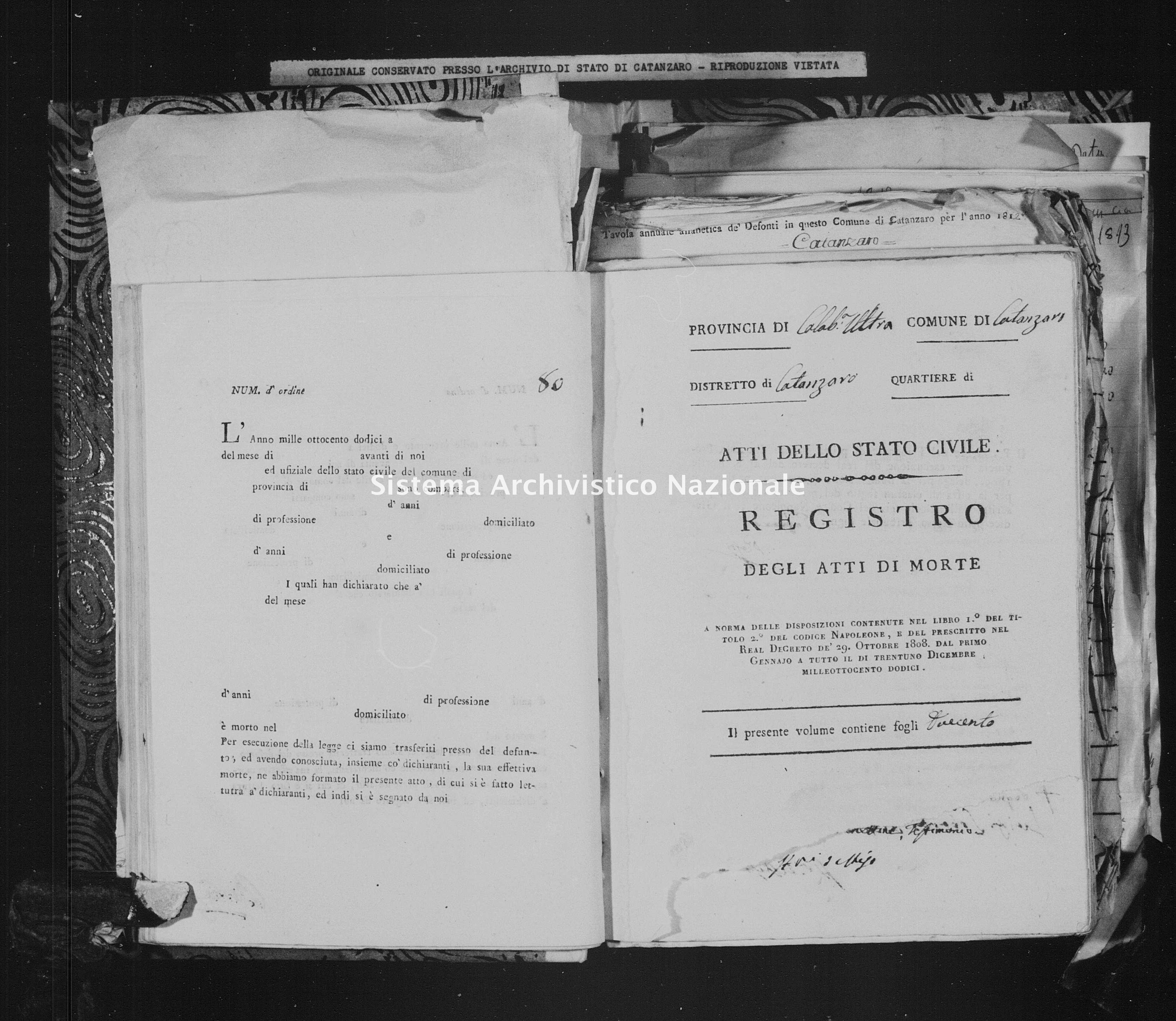 Archivio di stato di Catanzaro - Stato civile italiano - Catanzaro - Morti - 02/01/1812-07/11/1812 -