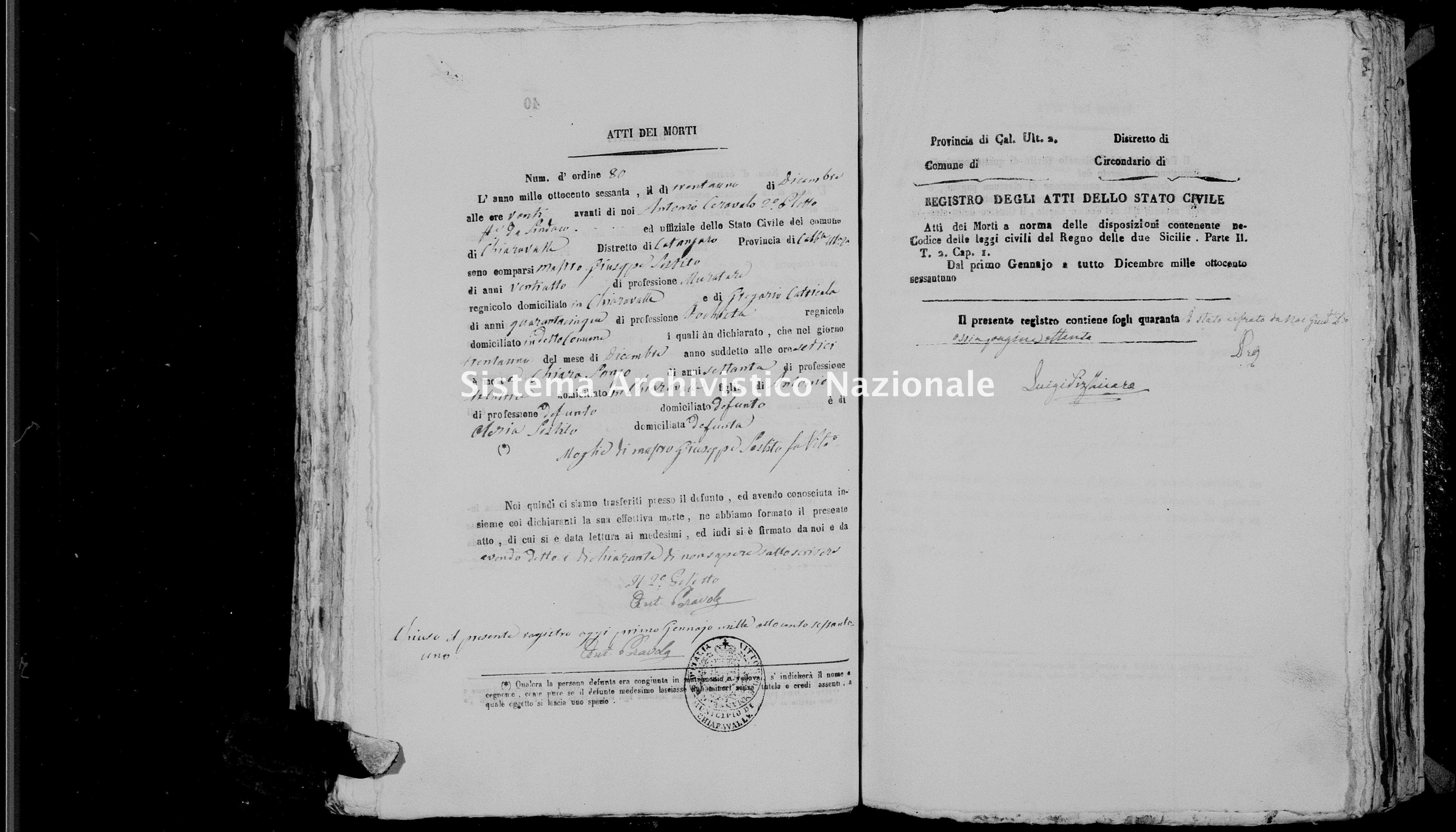 Archivio di stato di Catanzaro - Stato civile italiano - Chiaravalle - Morti - 1861 -
