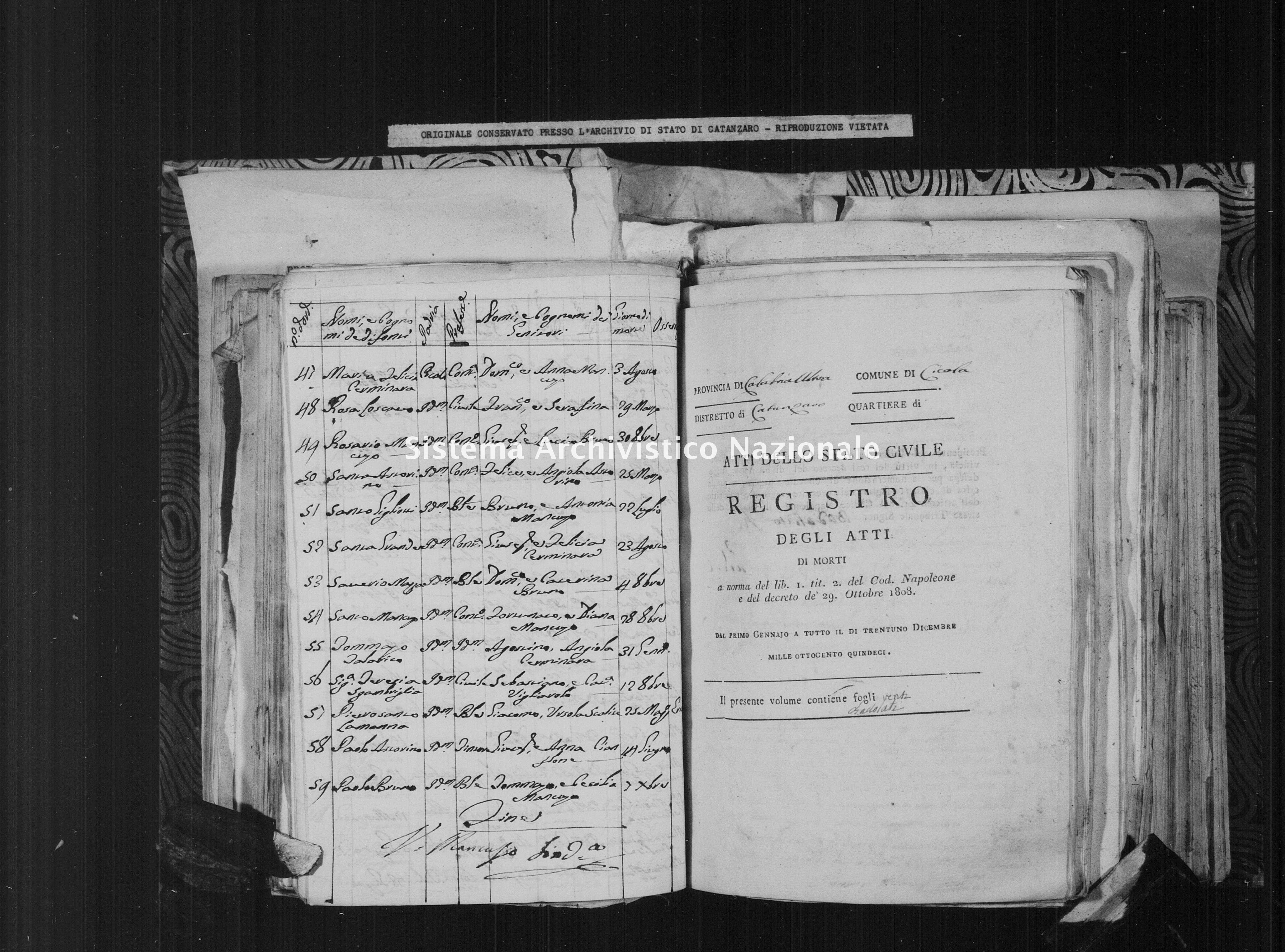 Archivio di stato di Catanzaro - Stato civile italiano - Cicala - Morti - 01/01/1815-05/09/1815 -