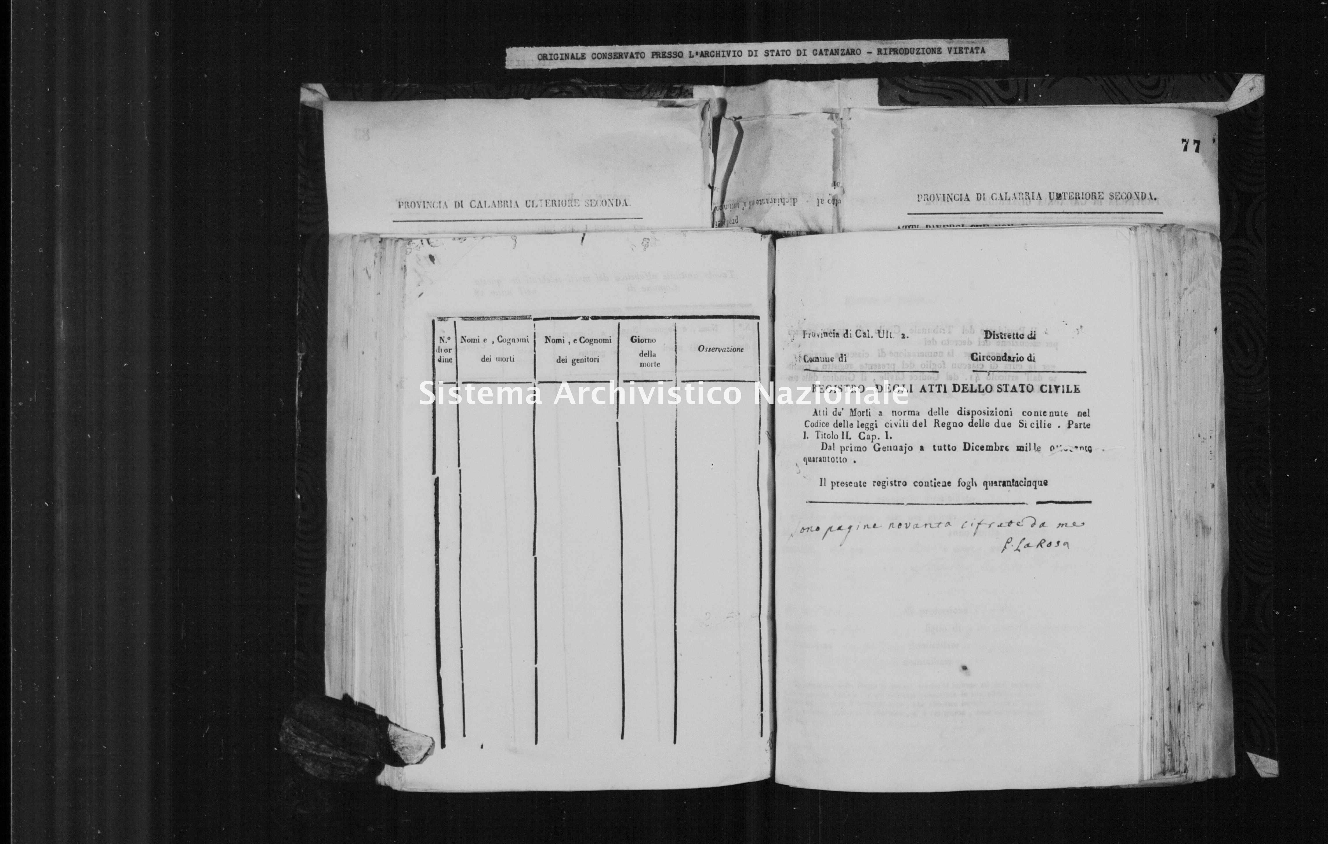 Archivio di stato di Catanzaro - Stato civile italiano - Cirò - Morti - 02/01/1848-23/12/1848 -