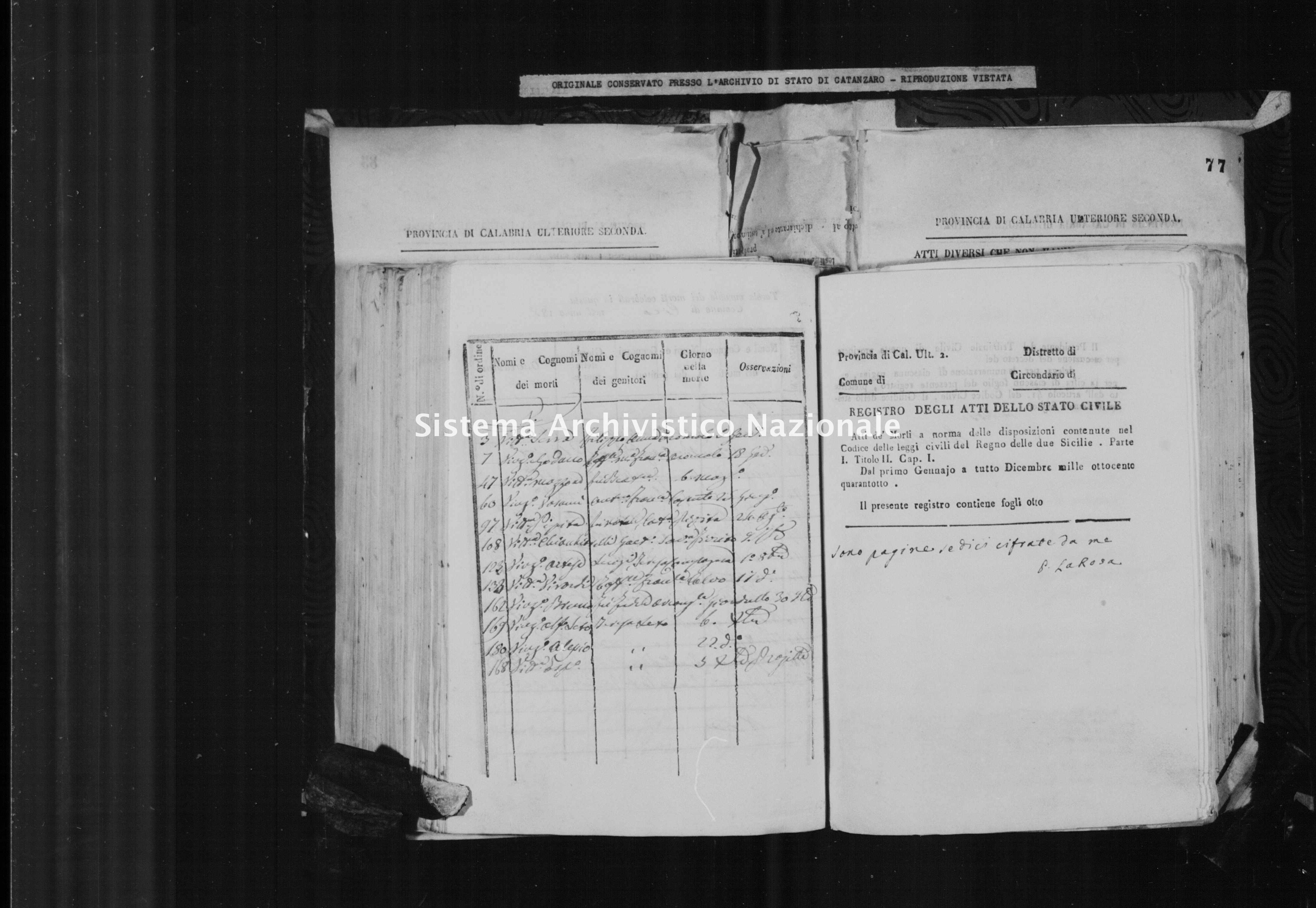 Archivio di stato di Catanzaro - Stato civile italiano - Cirò - Morti - 24/12/1848-31/12/1849 -
