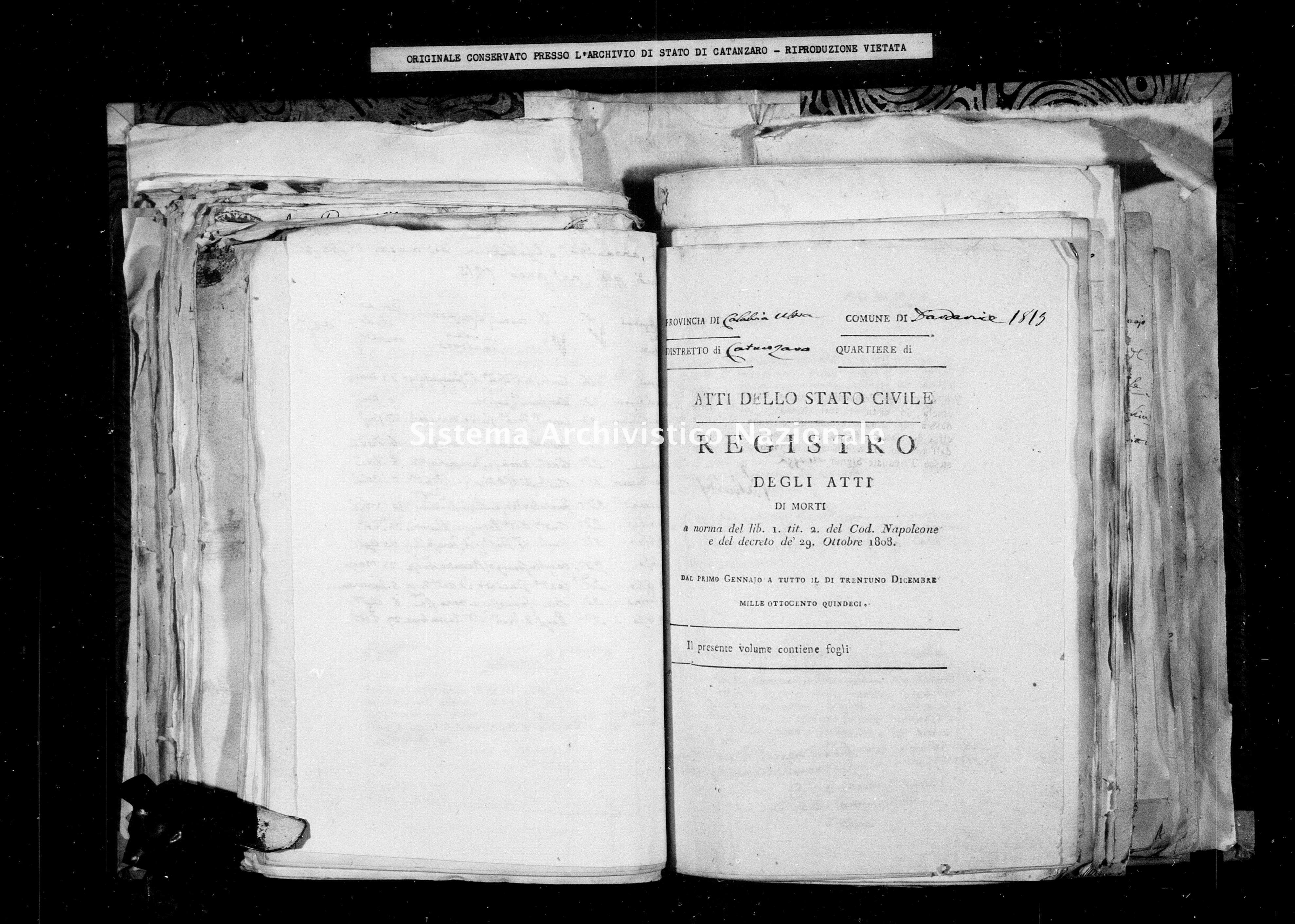 Archivio di stato di Catanzaro - Stato civile italiano - Dardanise - Morti - 1815 -