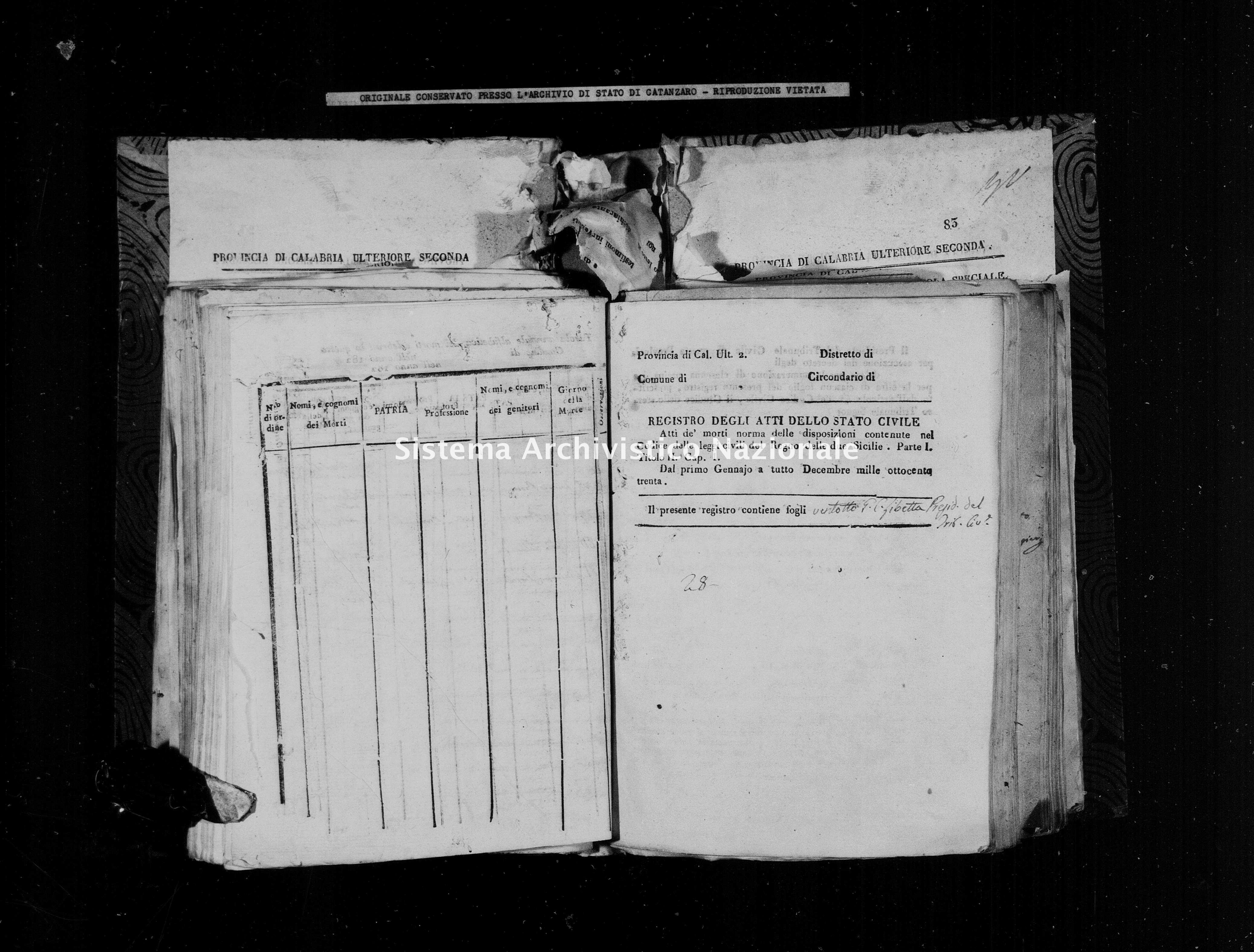 Archivio di stato di Catanzaro - Stato civile italiano - Gimigliano - Morti - 25/10/1830-27/12/1830 -