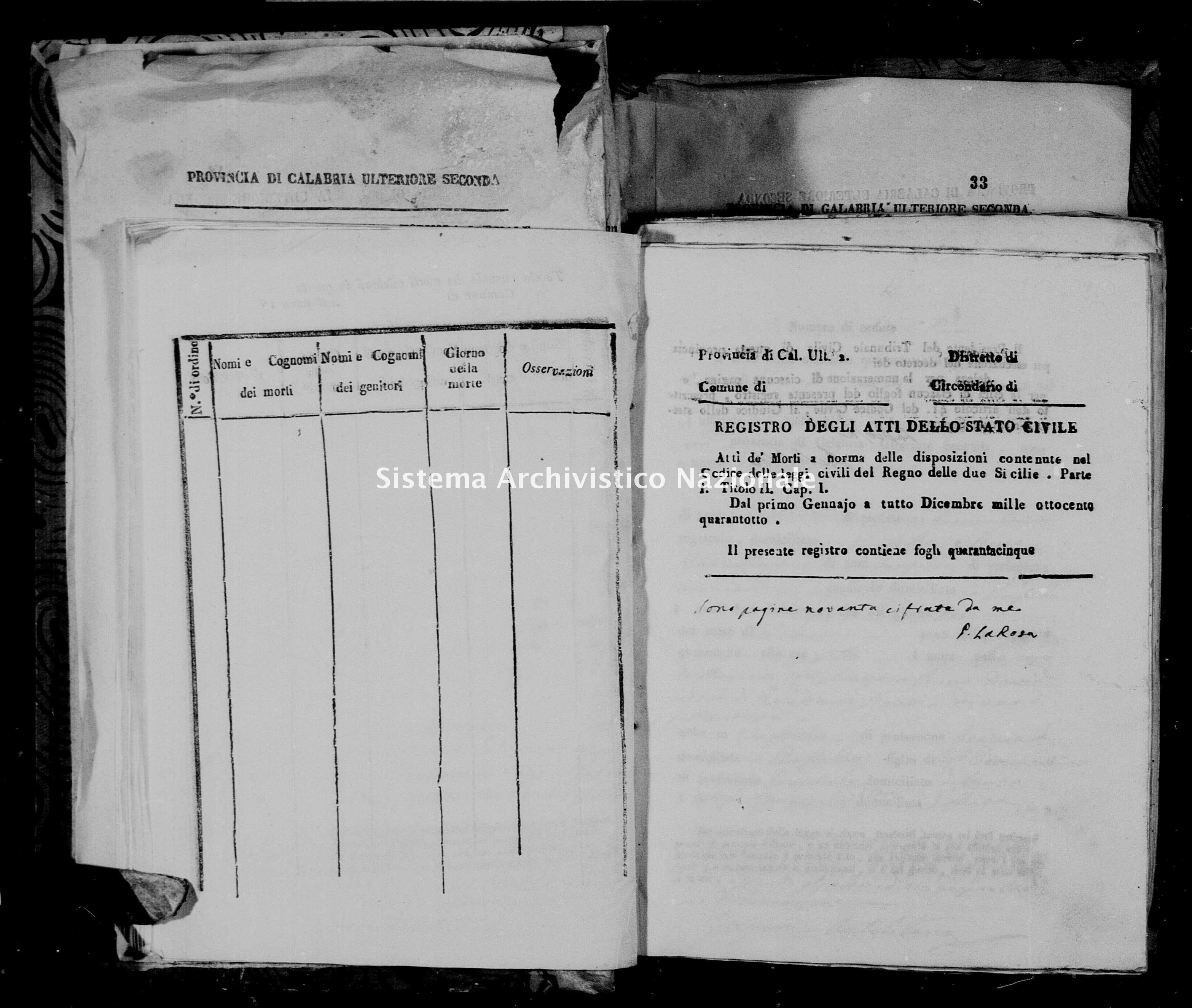 Archivio di stato di Catanzaro - Stato civile italiano - Girifalco - Morti - 06/01/1848-02/11/1848 - 1337 -