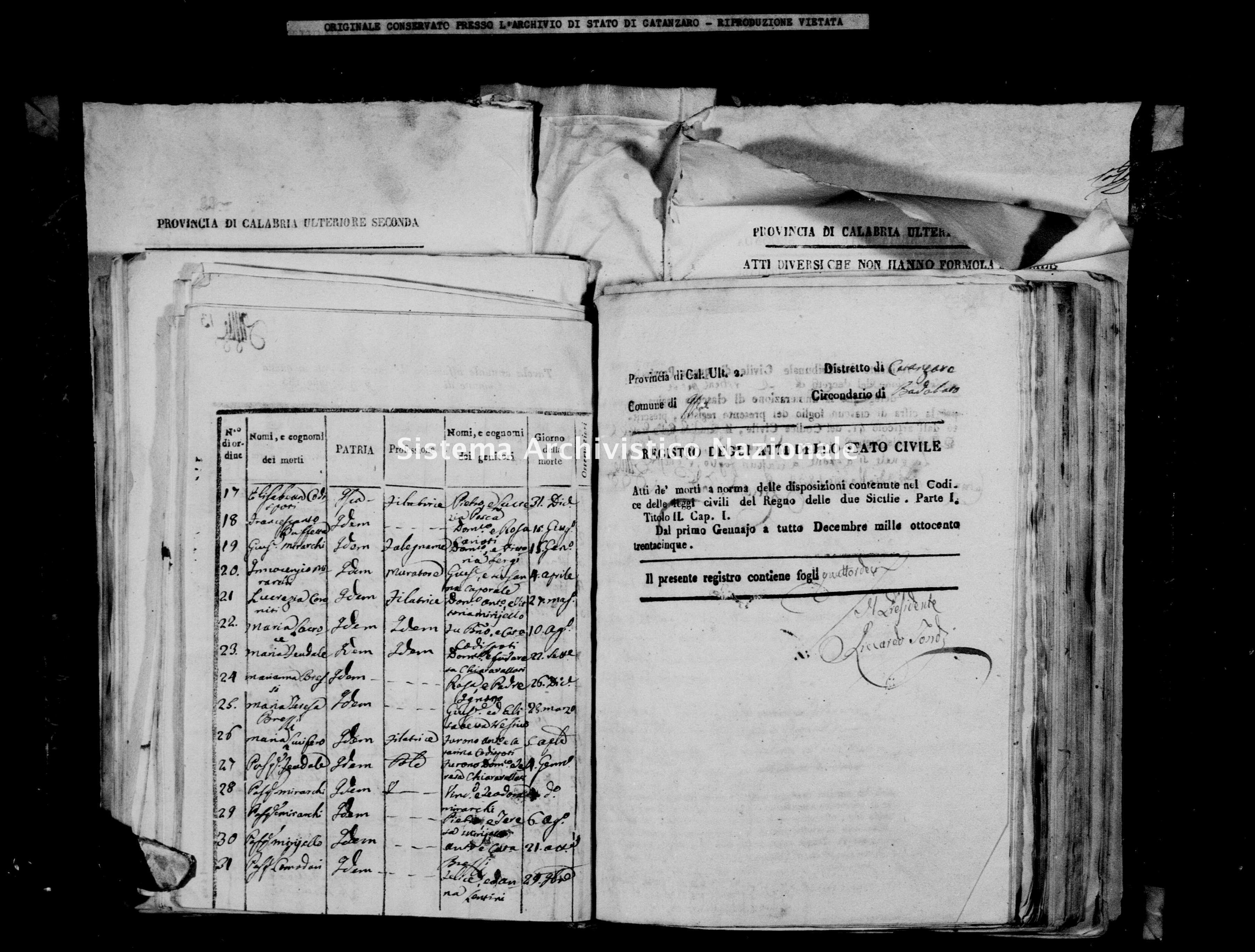 Archivio di stato di Catanzaro - Stato civile italiano - Isca sullo Ionio - Morti - 02/01/1835-09/06/1835 -