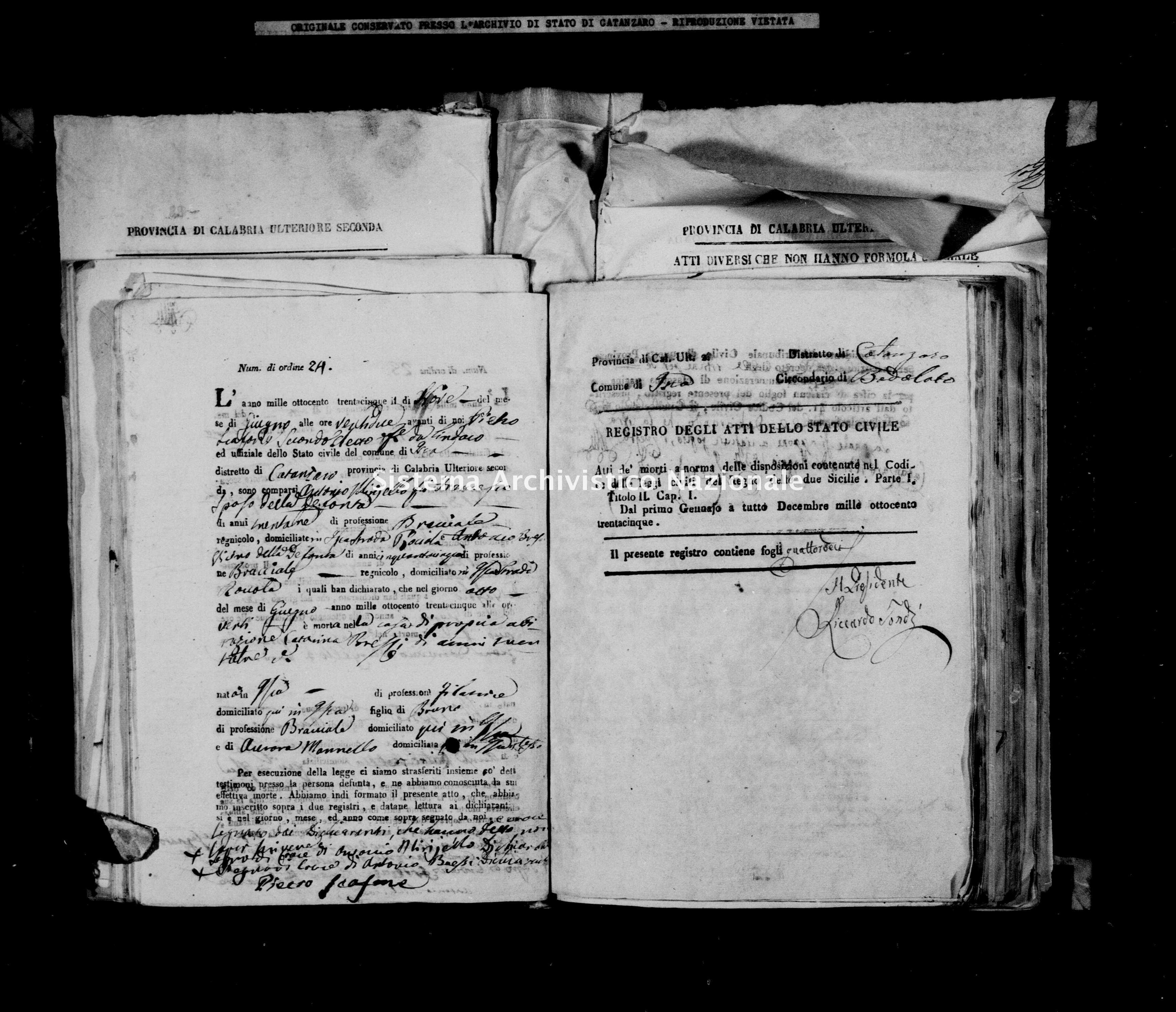 Archivio di stato di Catanzaro - Stato civile italiano - Isca sullo Ionio - Morti - 11/06/1835-31/12/1835 -
