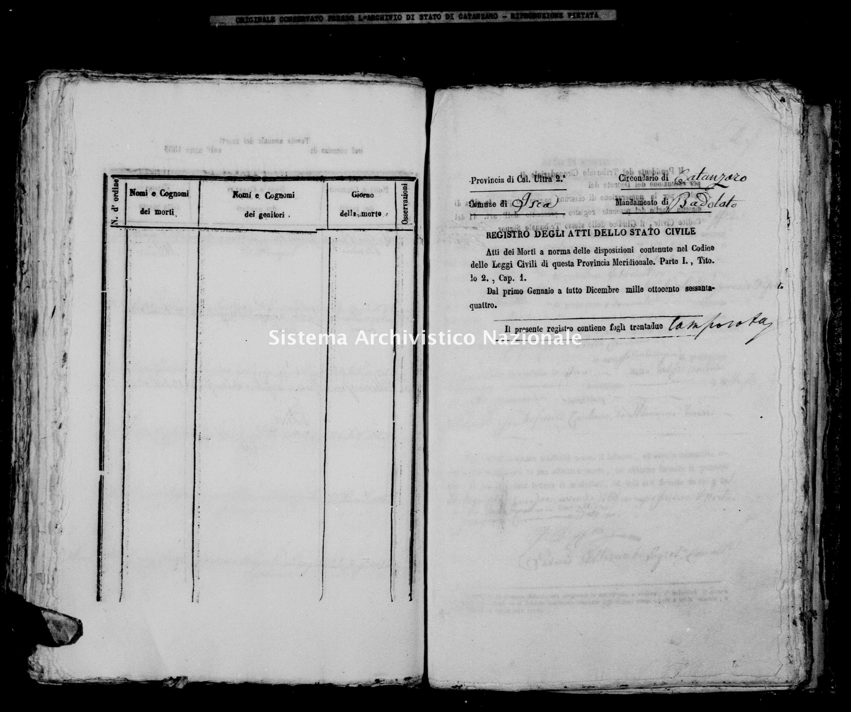Archivio di stato di Catanzaro - Stato civile italiano - Isca sullo Ionio - Morti - 1864 -