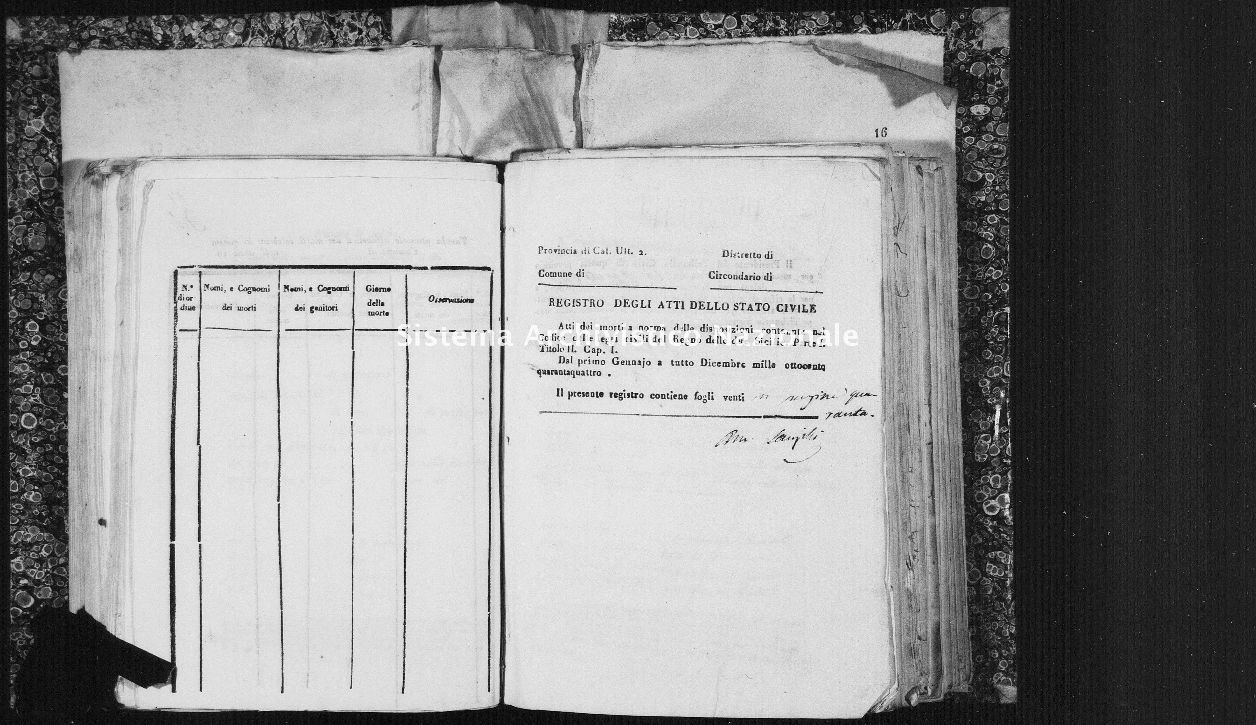 Archivio di stato di Catanzaro - Stato civile italiano - Isola Capo Rizzuto - Morti - 02/01/1844-24/12/1844 - 1458 -
