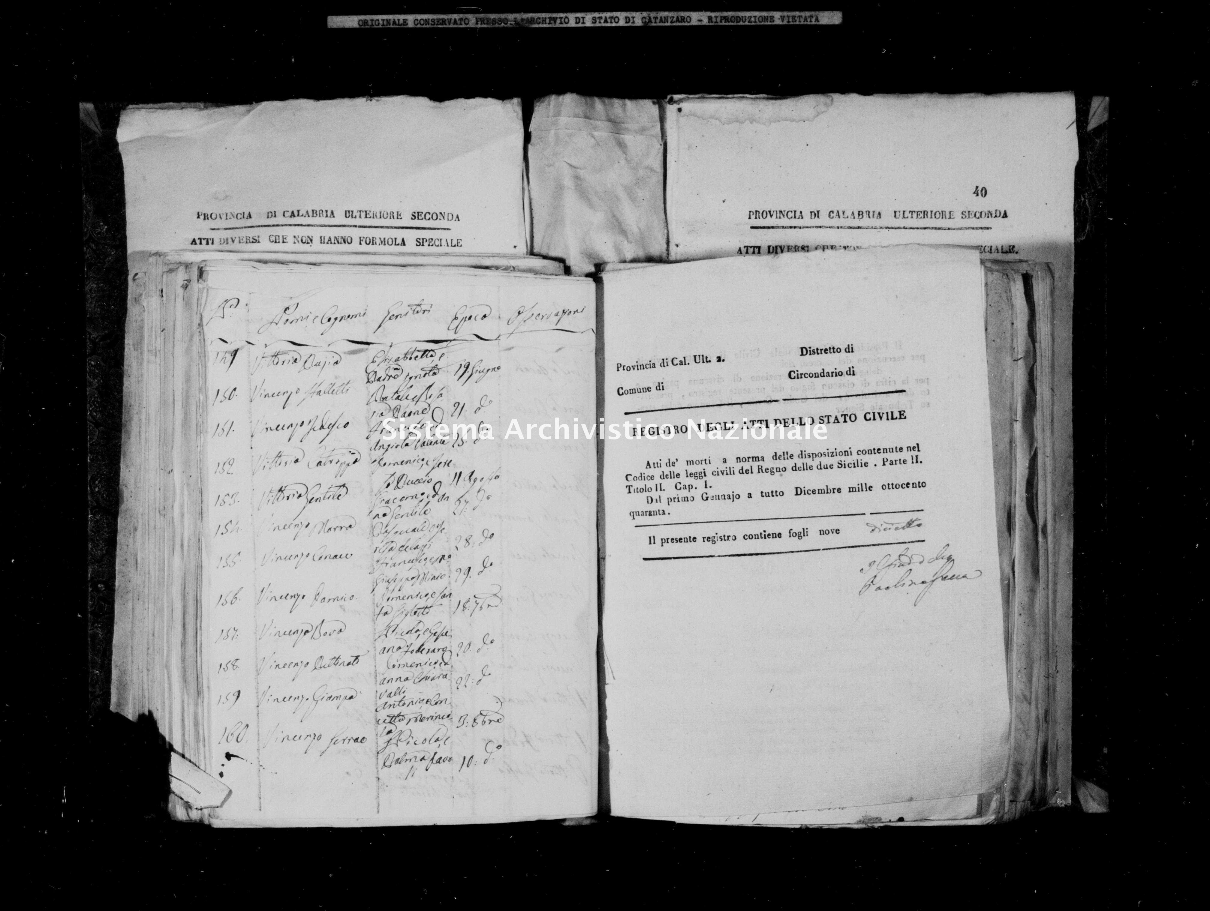 Archivio di stato di Catanzaro - Stato civile italiano - Màida - Morti - 16/10/1840-12/11/1840 -