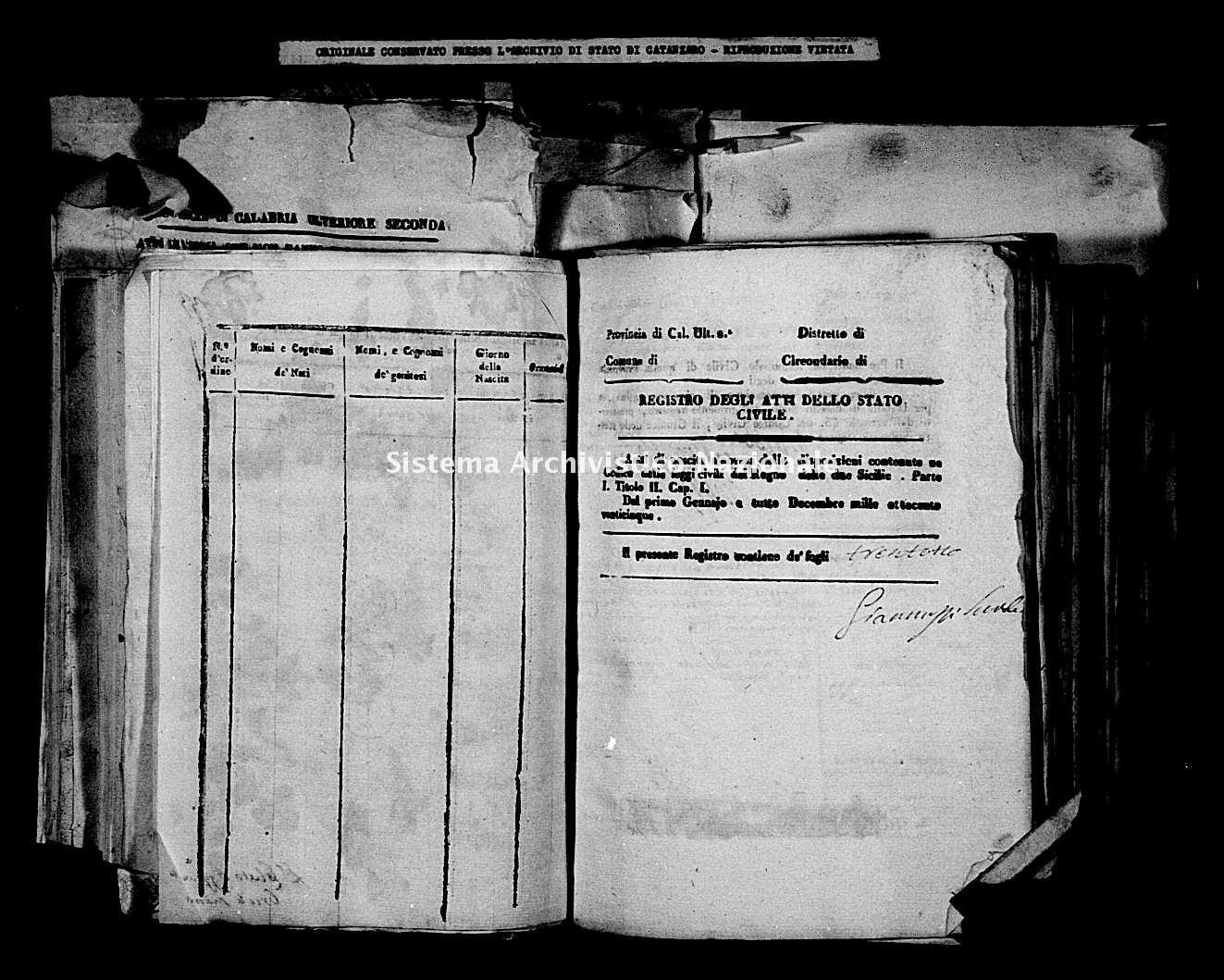 Archivio di stato di Catanzaro - Stato civile della restaurazione - Carfizzi - Nati - 1825 -
