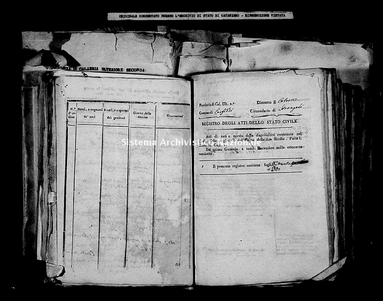 Archivio di stato di Catanzaro - Stato civile della restaurazione - Carfizzi - Nati - 1827 -