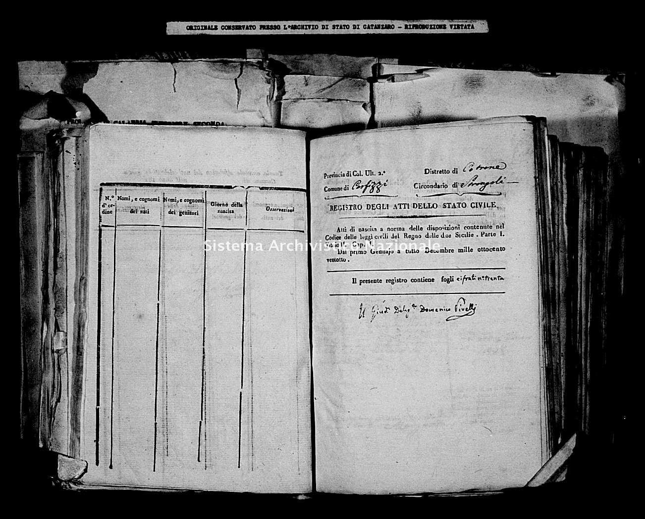 Archivio di stato di Catanzaro - Stato civile della restaurazione - Carfizzi - Nati - 1828 -