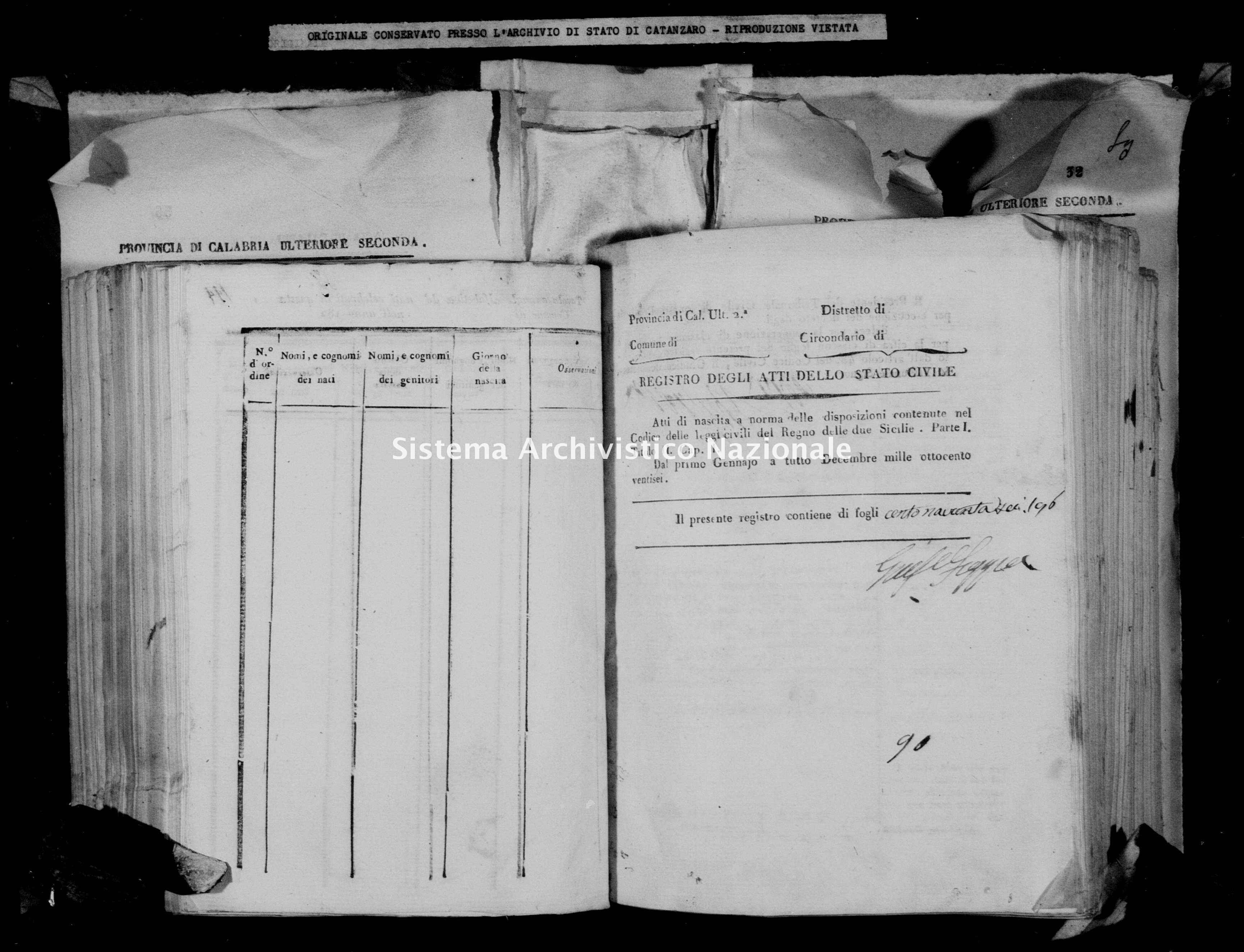 Archivio di stato di Catanzaro - Stato civile della restaurazione - Cirò - Nati - 1826 -