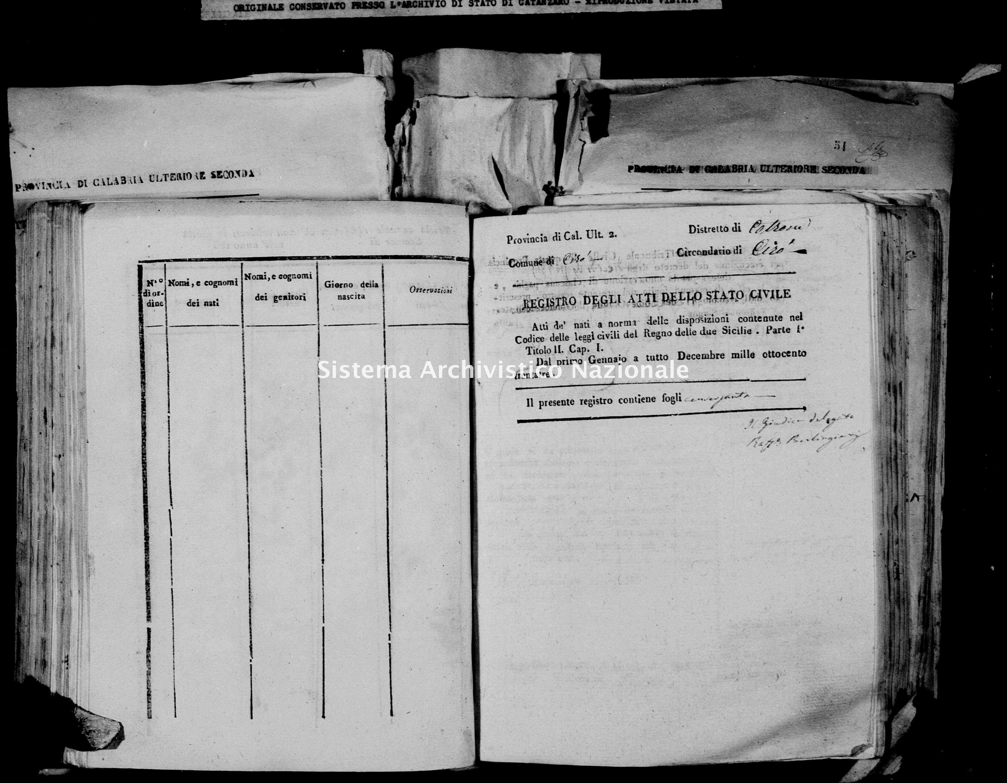 Archivio di stato di Catanzaro - Stato civile della restaurazione - Cirò - Nati - 1833 -