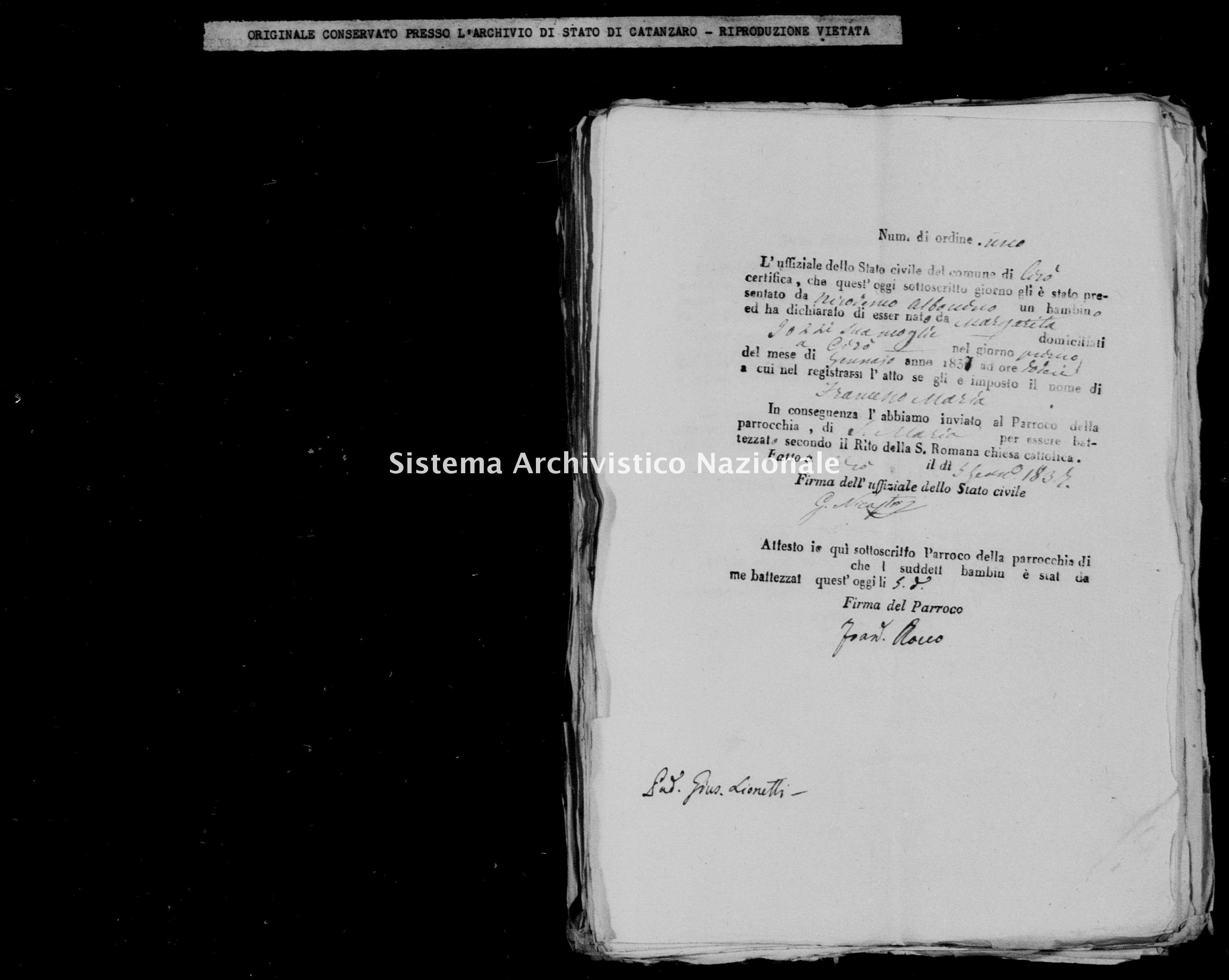 Archivio di stato di Catanzaro - Stato civile della restaurazione - Cirò - Nati, battesimi - 1837 -