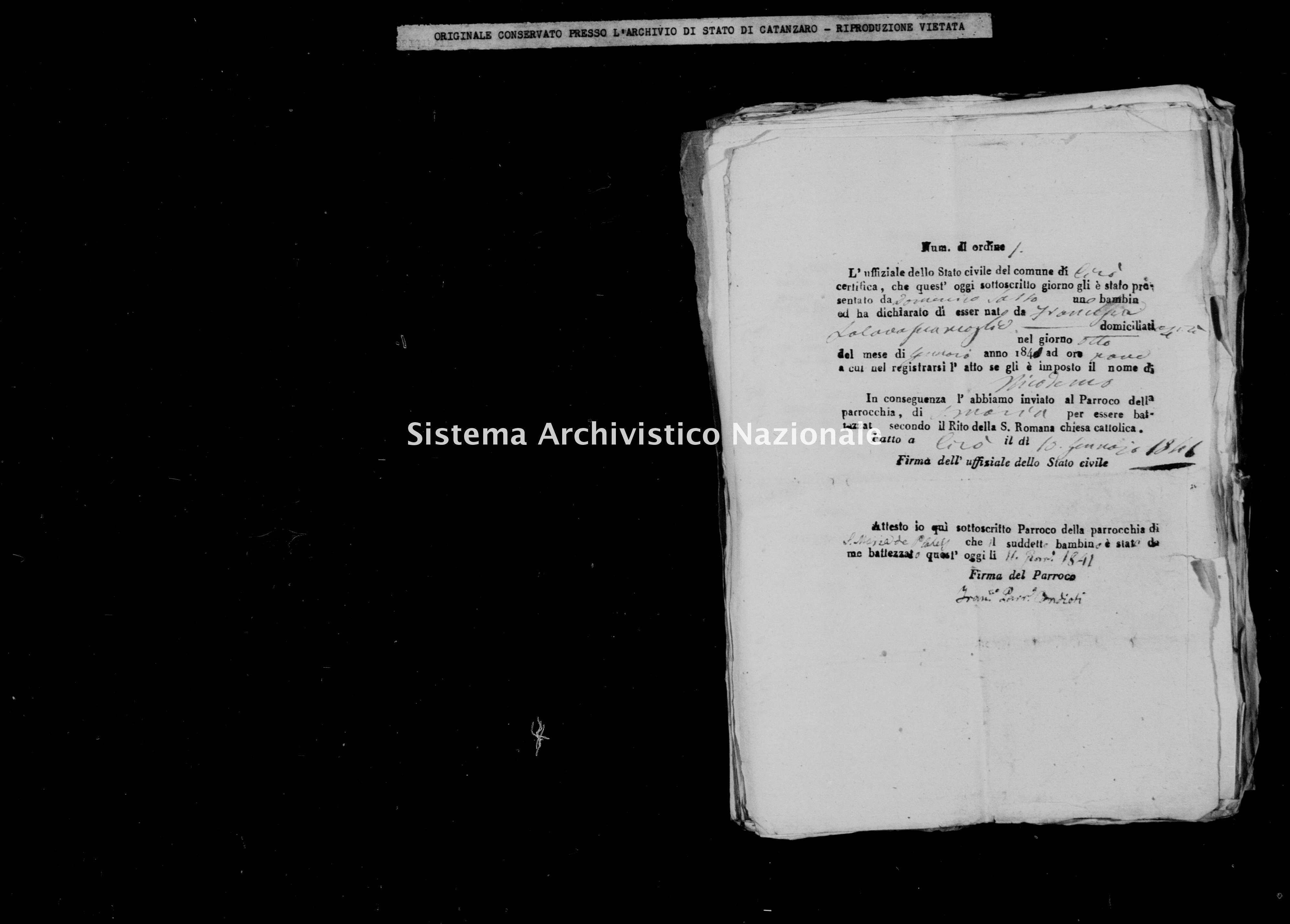 Archivio di stato di Catanzaro - Stato civile della restaurazione - Cirò - Nati, battesimi - 1841 -