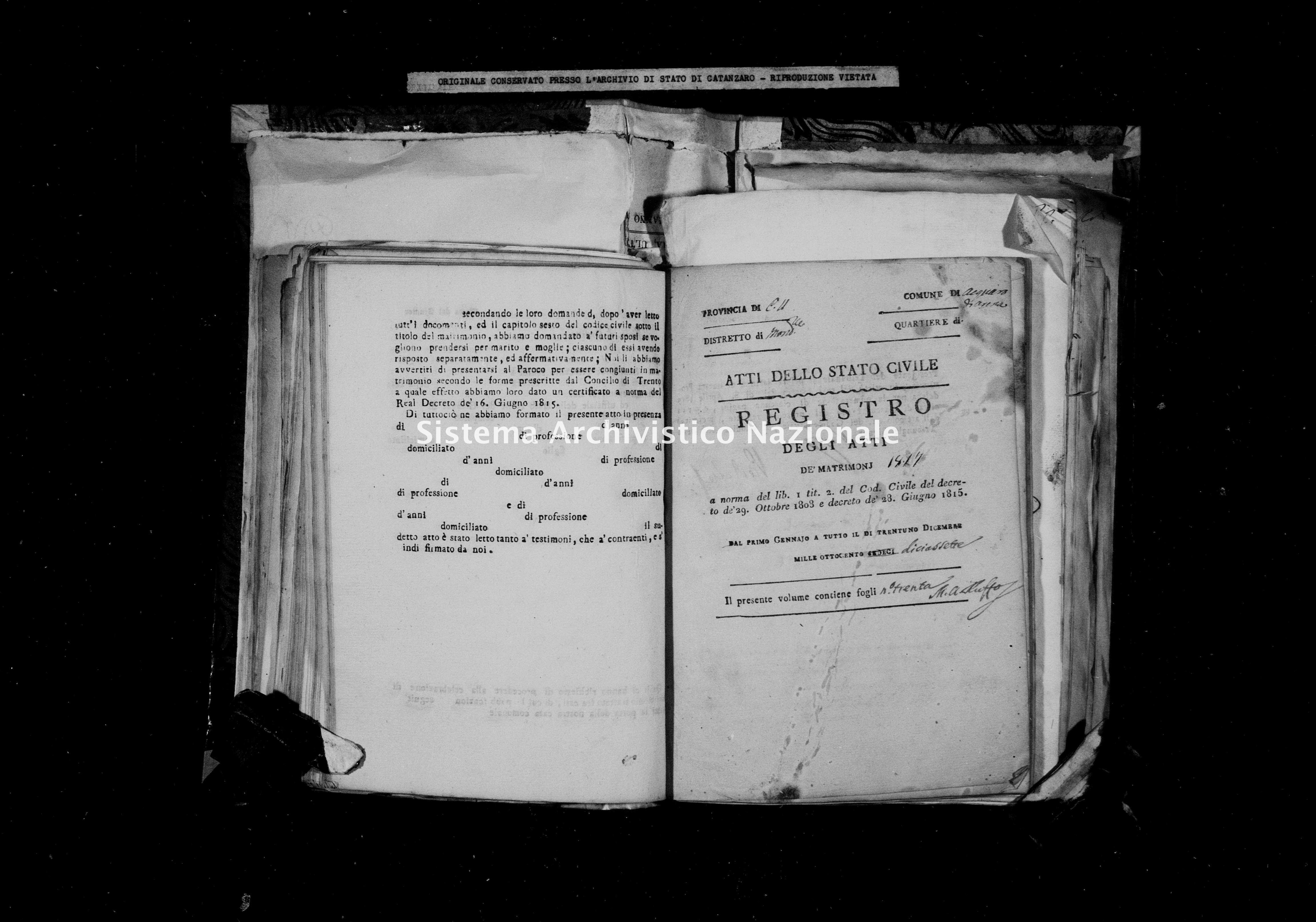 Archivio di stato di Catanzaro - Stato civile della restaurazione - Acquaro - Matrimoni - 1817 -