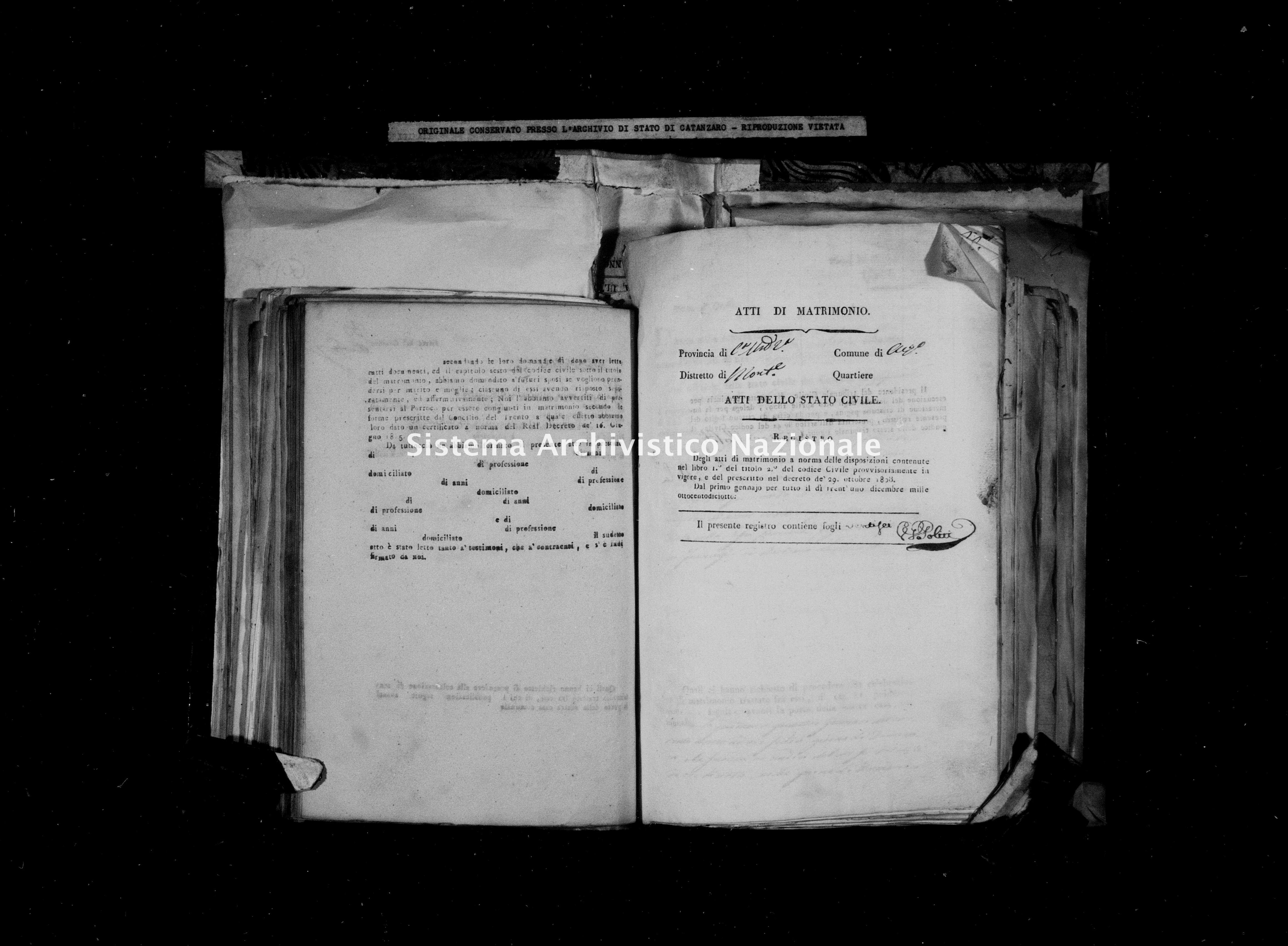 Archivio di stato di Catanzaro - Stato civile della restaurazione - Acquaro - Matrimoni - 1818 -