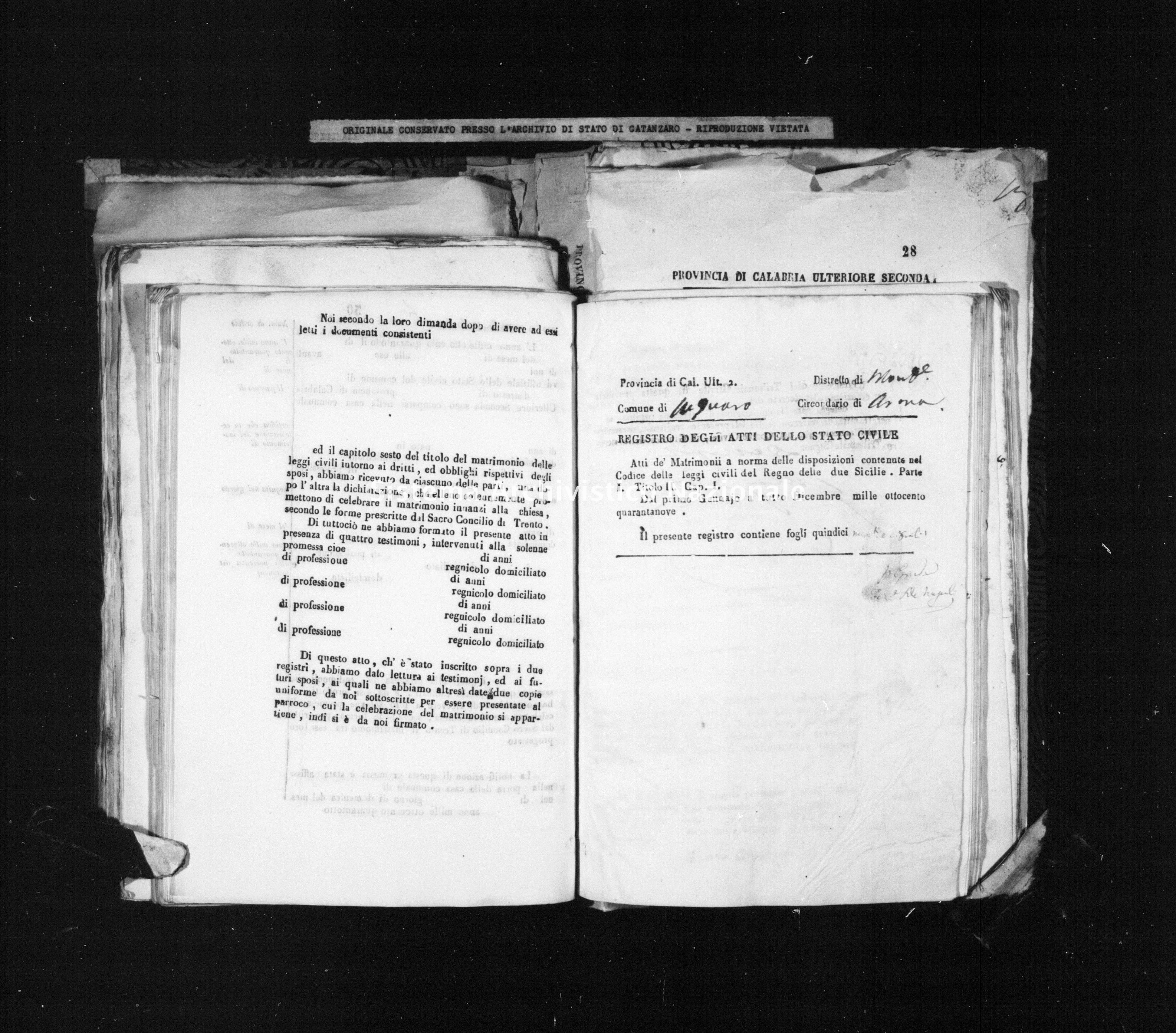 Archivio di stato di Catanzaro - Stato civile della restaurazione - Acquaro - Matrimoni - 1849 -
