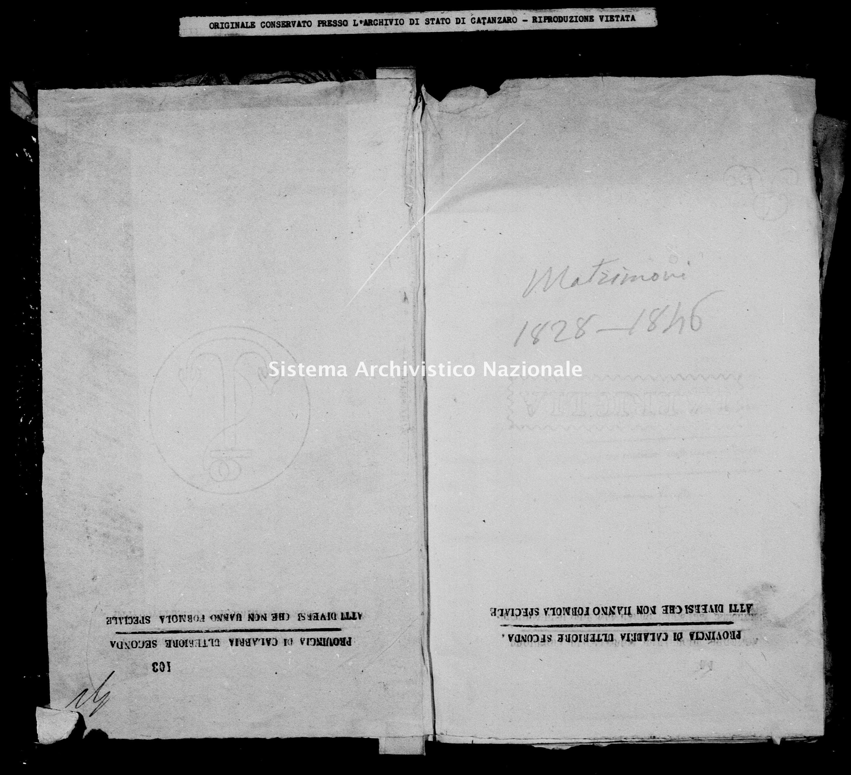 Archivio di stato di Catanzaro - Stato civile della restaurazione - Bella - Matrimoni - 1828 -