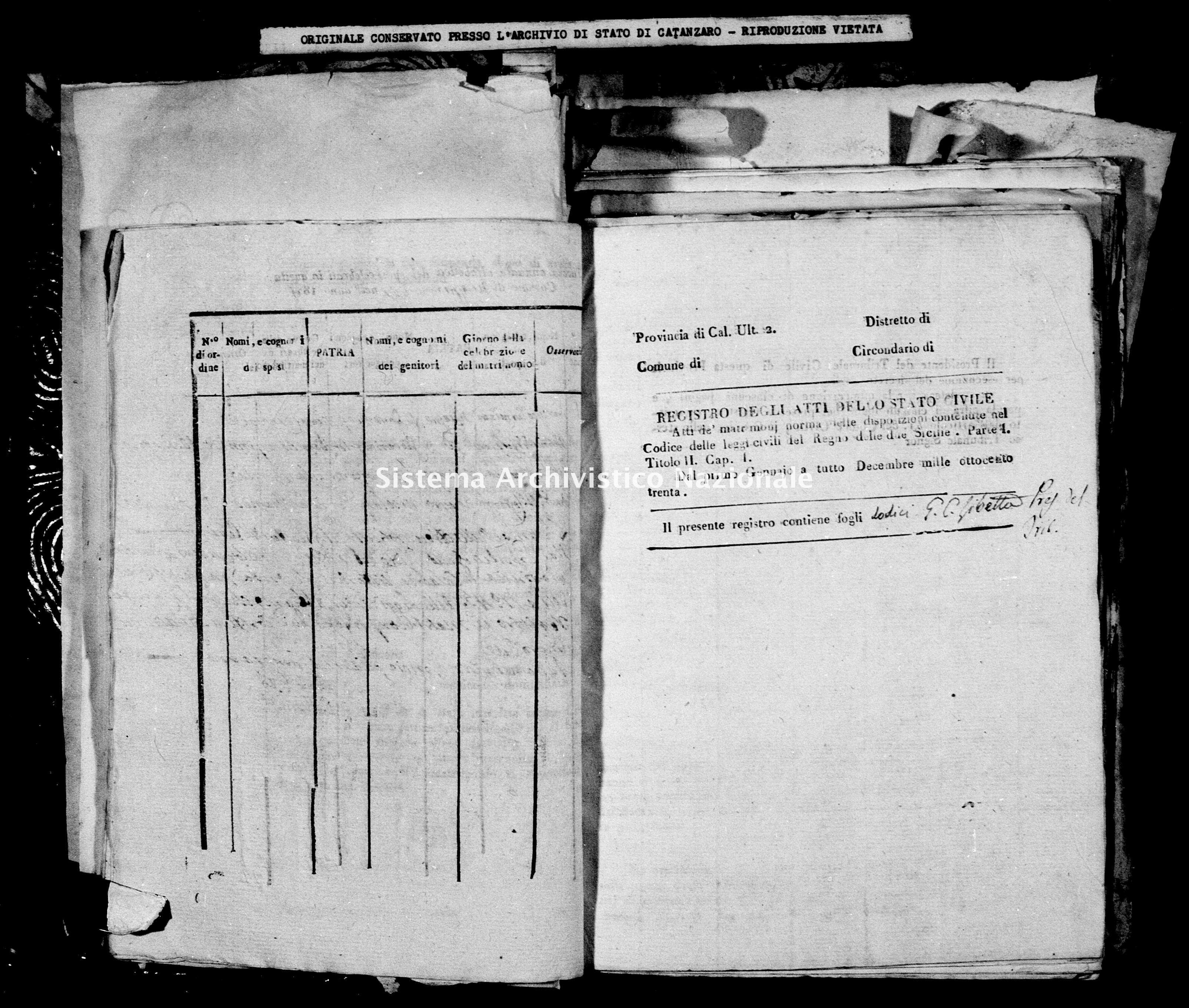 Archivio di stato di Catanzaro - Stato civile della restaurazione - Bella - Matrimoni - 1830 -