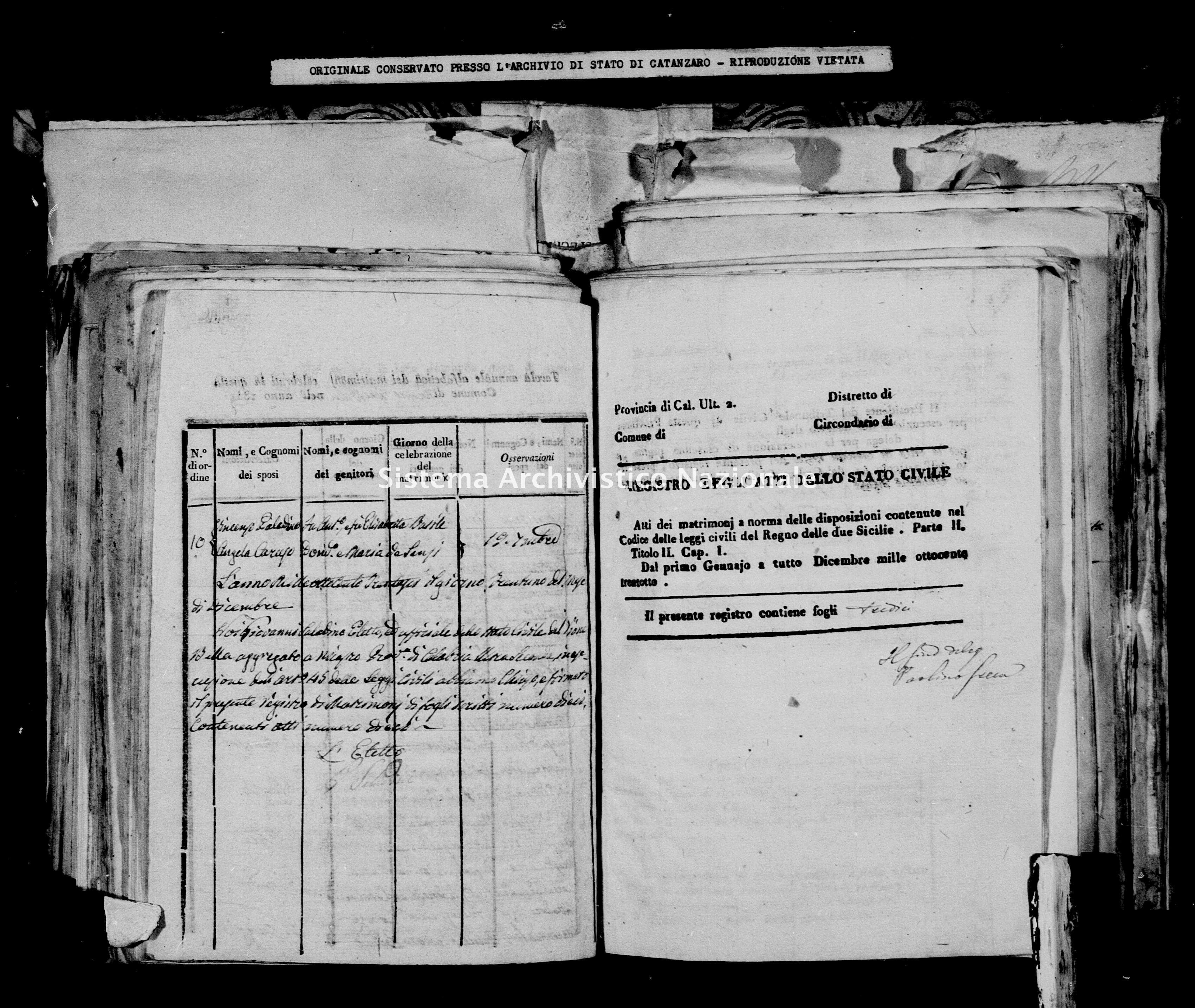 Archivio di stato di Catanzaro - Stato civile della restaurazione - Bella - Matrimoni - 1838 -