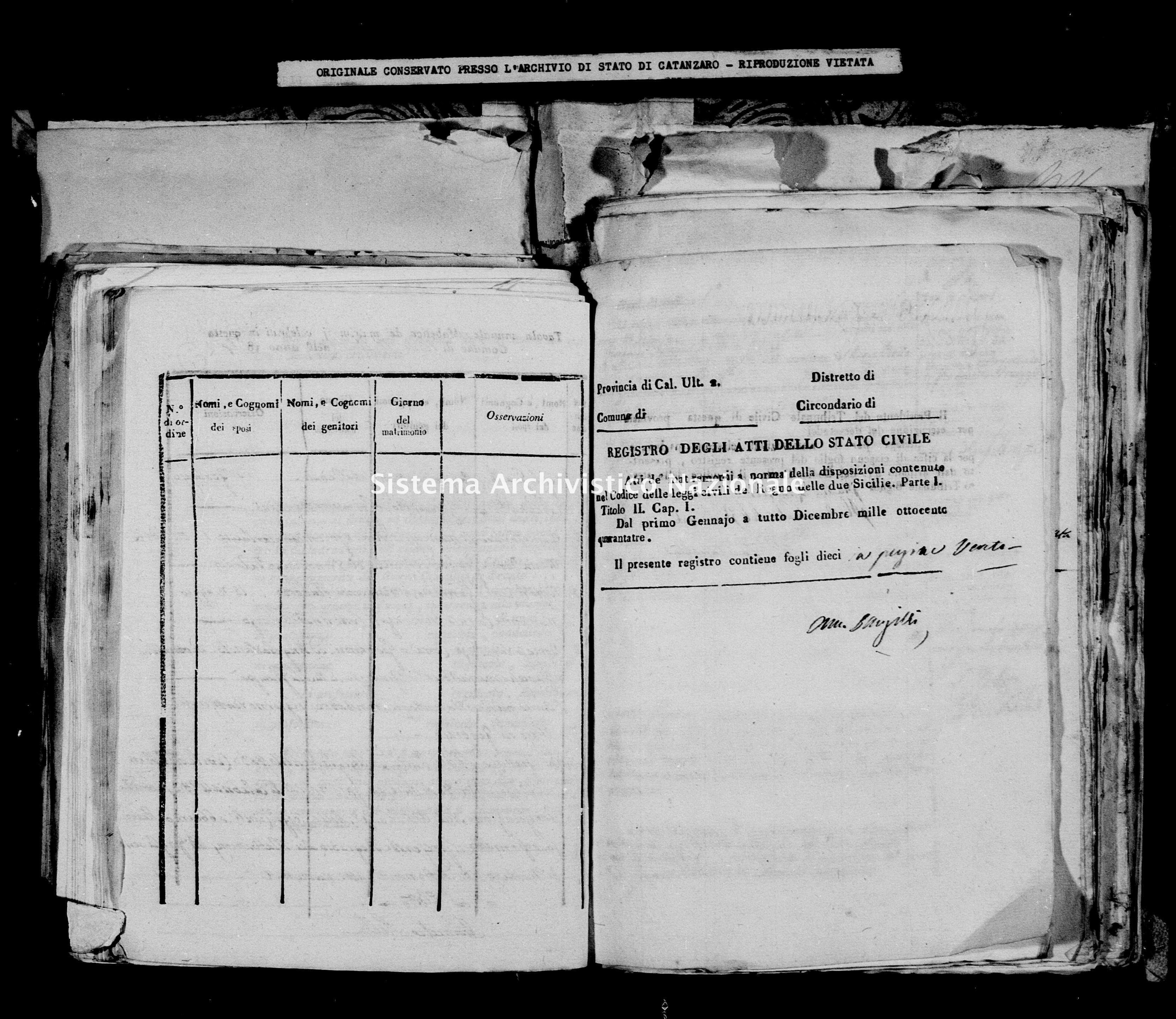 Archivio di stato di Catanzaro - Stato civile della restaurazione - Bella - Matrimoni - 1843 -