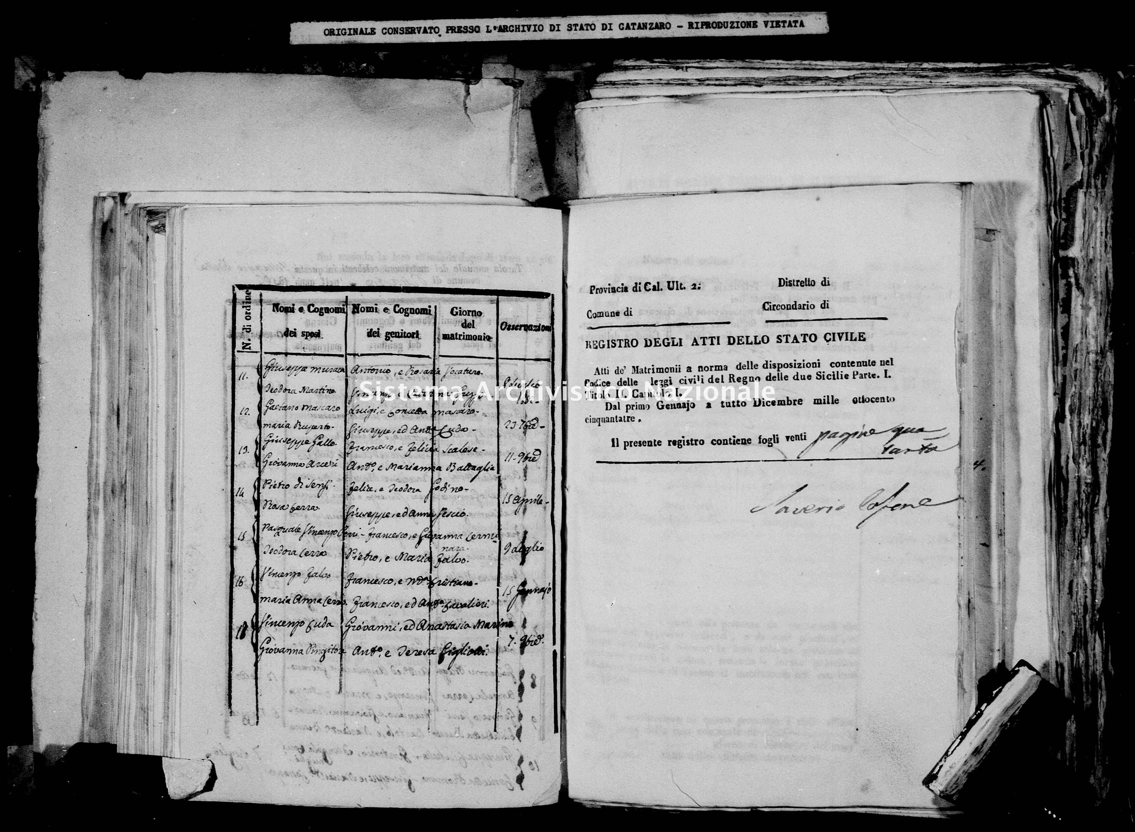 Archivio di stato di Catanzaro - Stato civile della restaurazione - Bella - Matrimoni - 1853 -