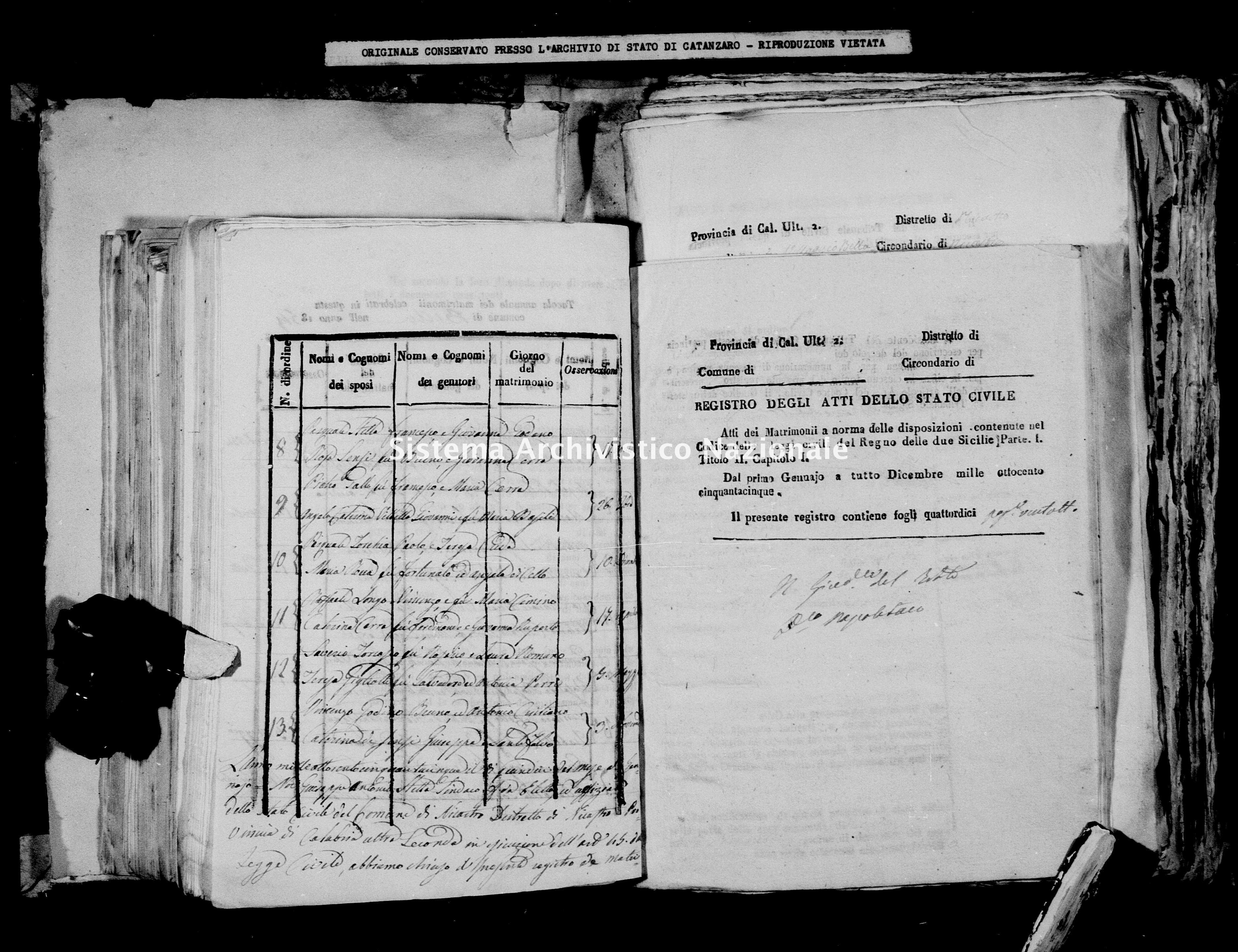 Archivio di stato di Catanzaro - Stato civile della restaurazione - Bella - Matrimoni - 1855 -