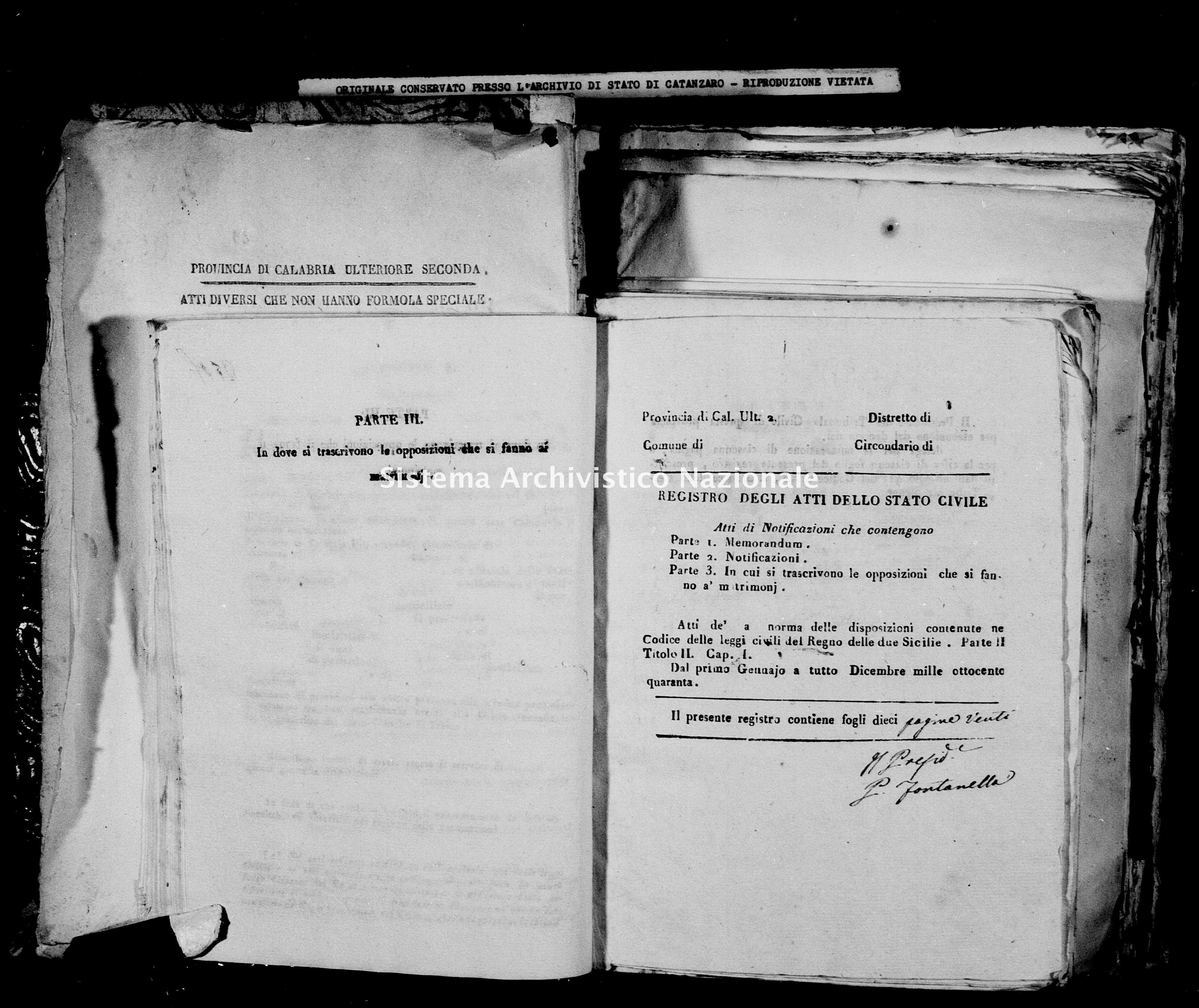 Archivio di stato di Catanzaro - Stato civile della restaurazione - Bella - Matrimoni, notificazioni - 1840 -