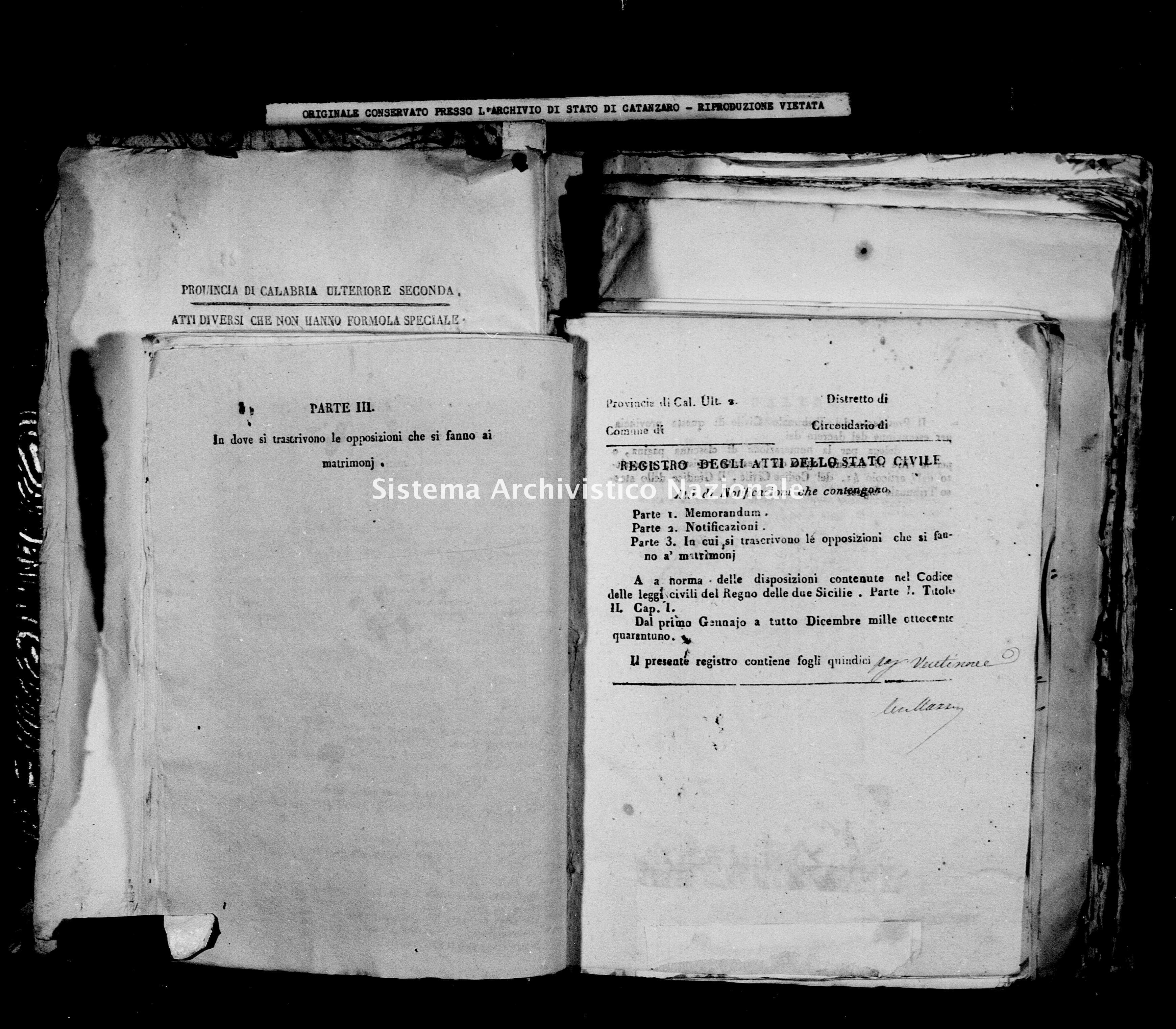 Archivio di stato di Catanzaro - Stato civile della restaurazione - Bella - Matrimoni, notificazioni - 1841 -