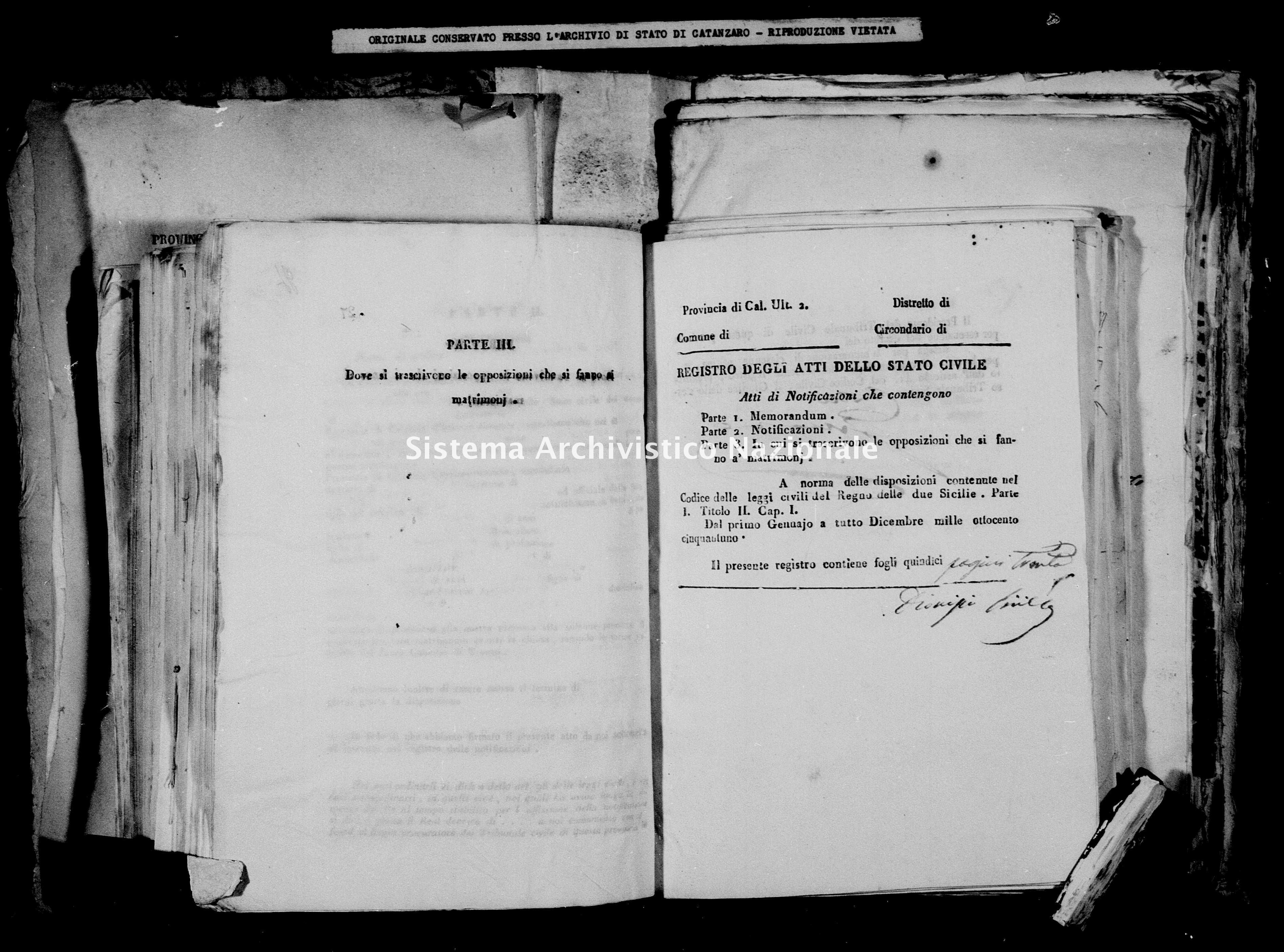 Archivio di stato di Catanzaro - Stato civile della restaurazione - Bella - Matrimoni, notificazioni - 1851 -