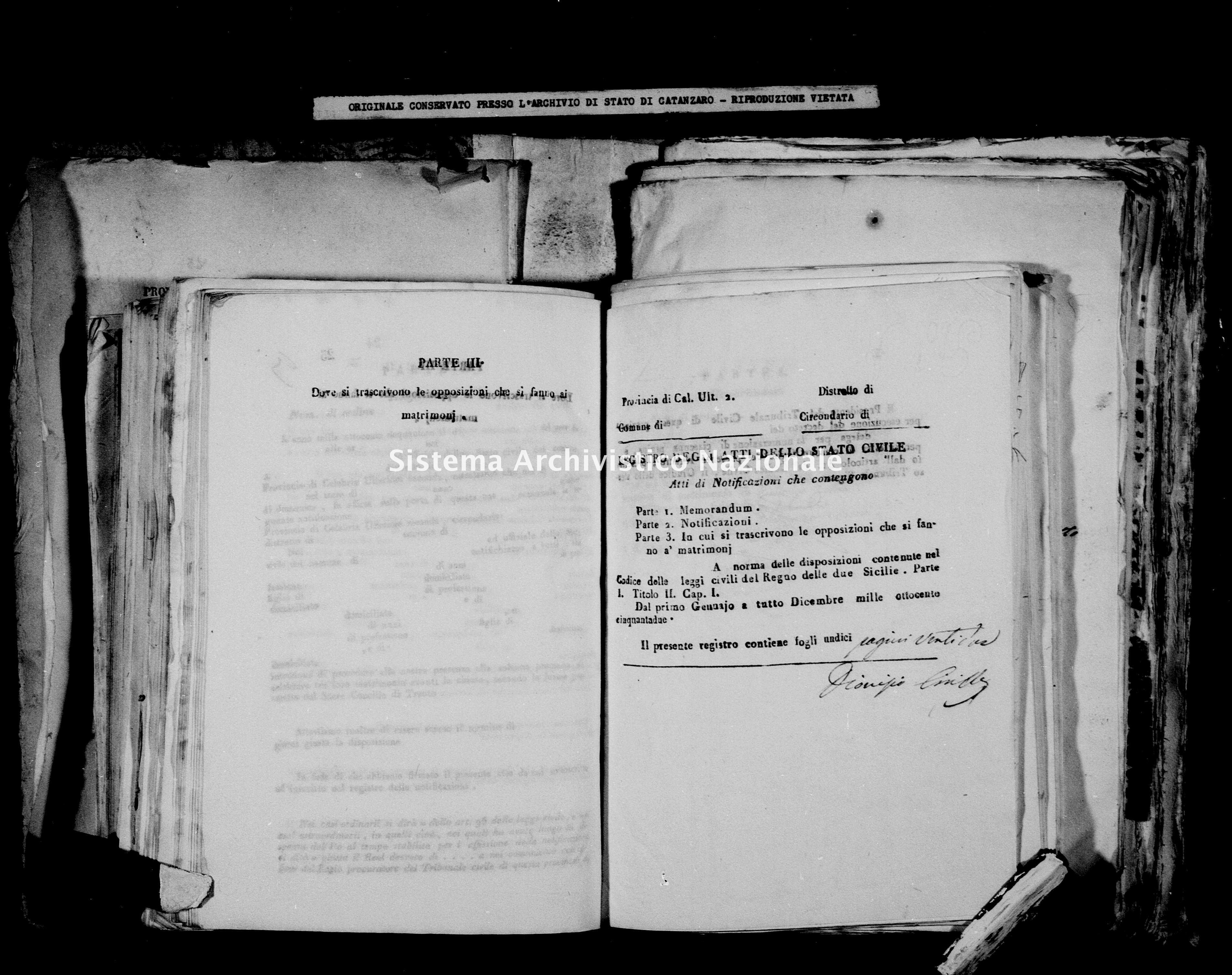 Archivio di stato di Catanzaro - Stato civile della restaurazione - Bella - Matrimoni, notificazioni - 1852 -