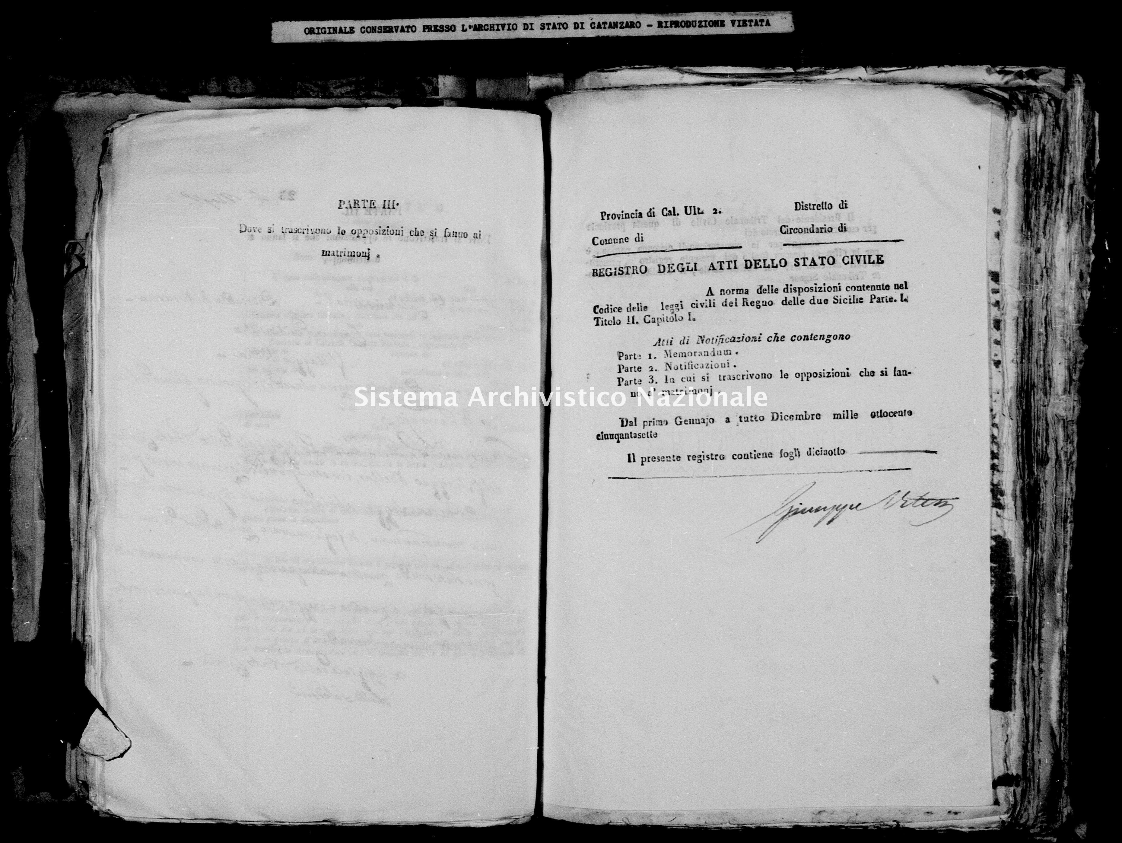 Archivio di stato di Catanzaro - Stato civile della restaurazione - Bella - Matrimoni, notificazioni - 1857 -