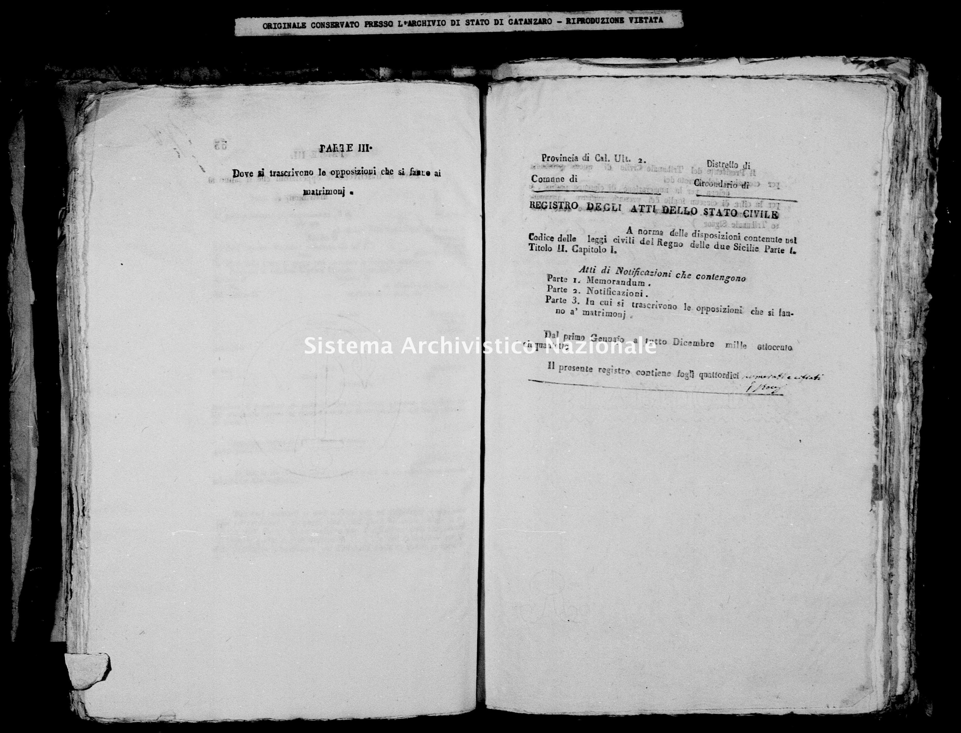 Archivio di stato di Catanzaro - Stato civile della restaurazione - Bella - Matrimoni, notificazioni - 1858 -
