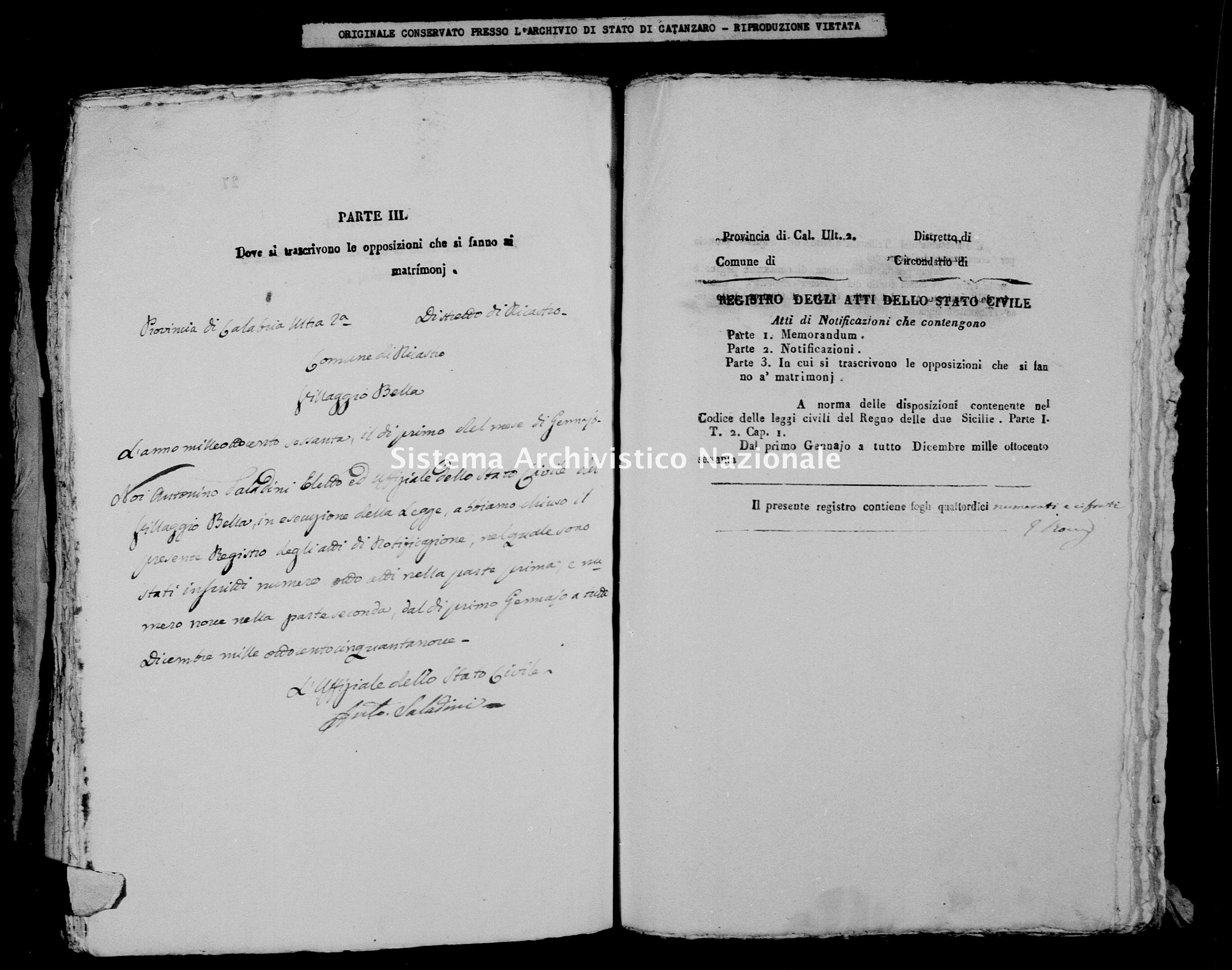 Archivio di stato di Catanzaro - Stato civile della restaurazione - Bella - Matrimoni, notificazioni - 1860 -