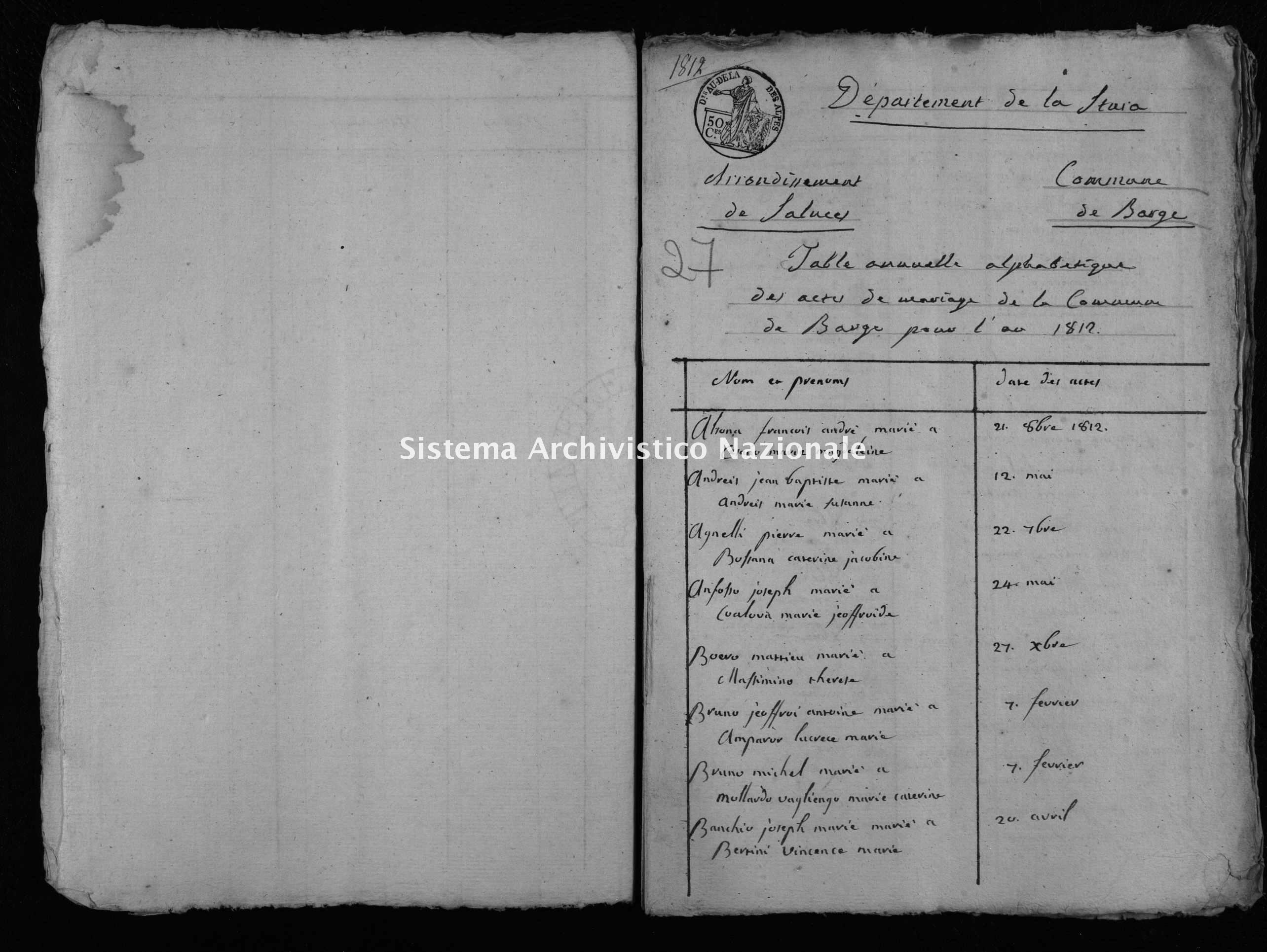 Archivio di stato di Cuneo - Stato civile napoleonico - Barge - Matrimoni, indice - 1812 - 46 -