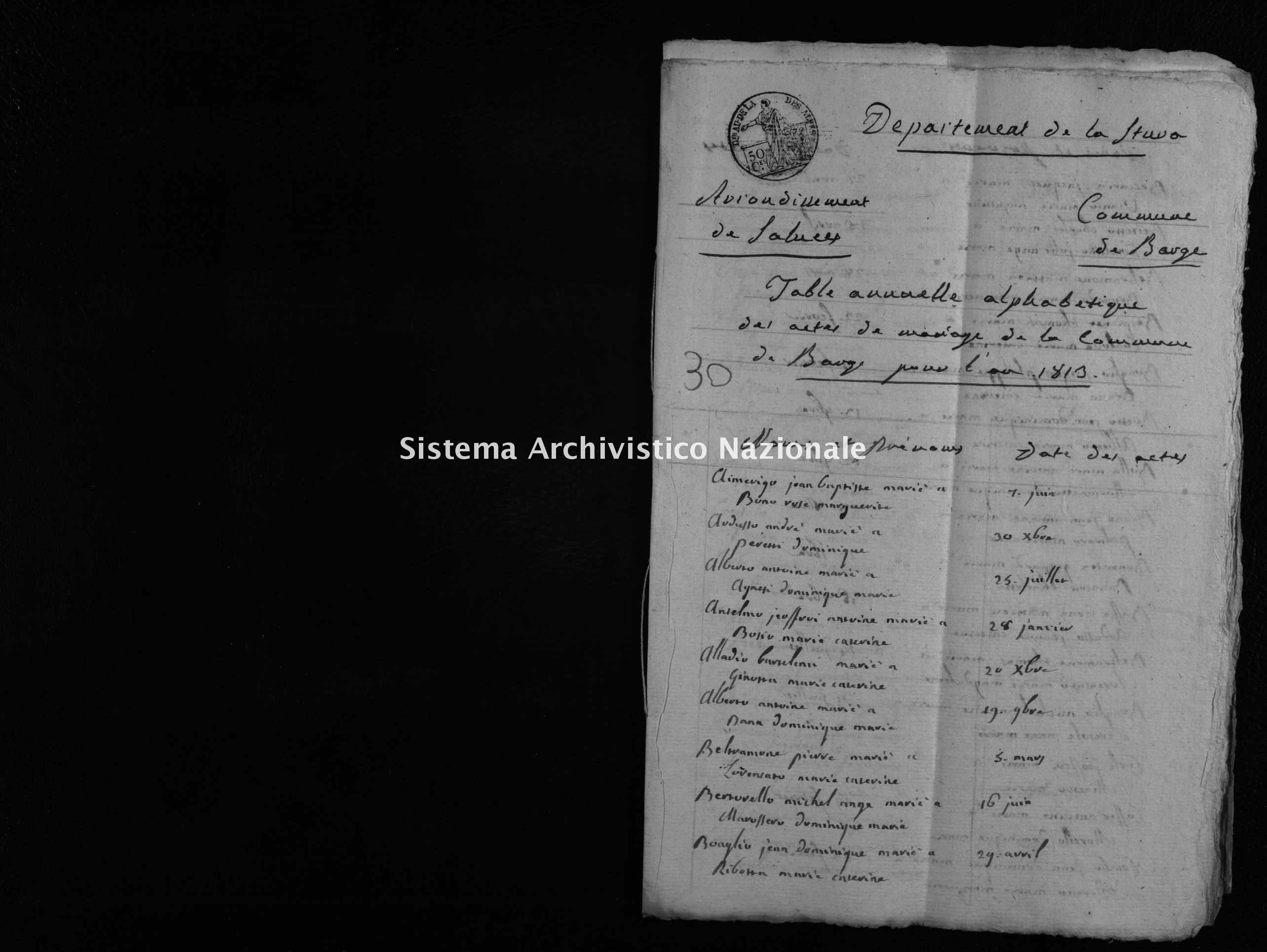 Archivio di stato di Cuneo - Stato civile napoleonico - Barge - Matrimoni, indice - 1813 - 46 -