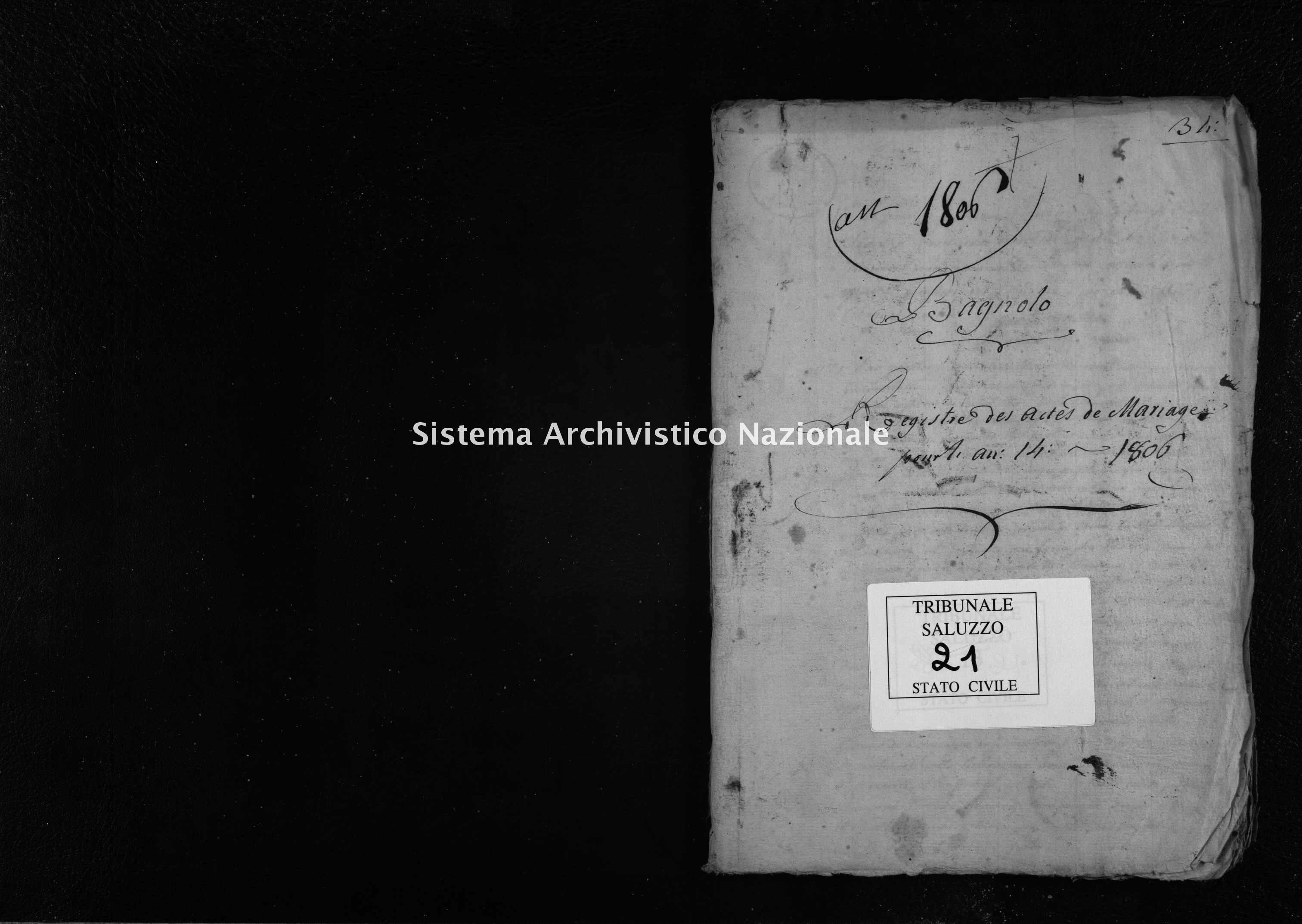 Archivio di stato di Cuneo - Stato civile napoleonico - Bagnolo Piemonte - Matrimoni - 1805-1806 - 21 -