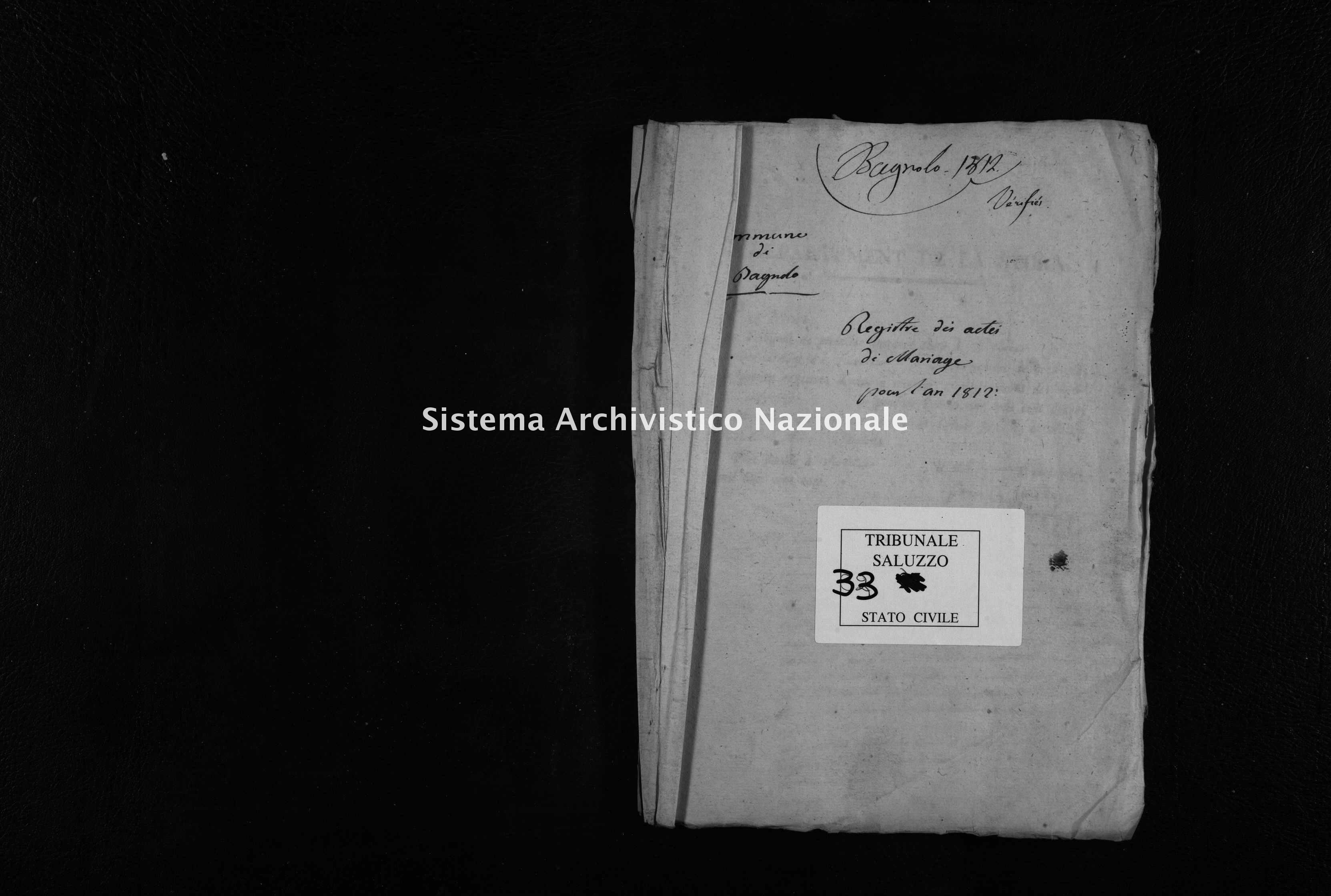 Archivio di stato di Cuneo - Stato civile napoleonico - Bagnolo Piemonte - Matrimoni - 1812 - 33 -