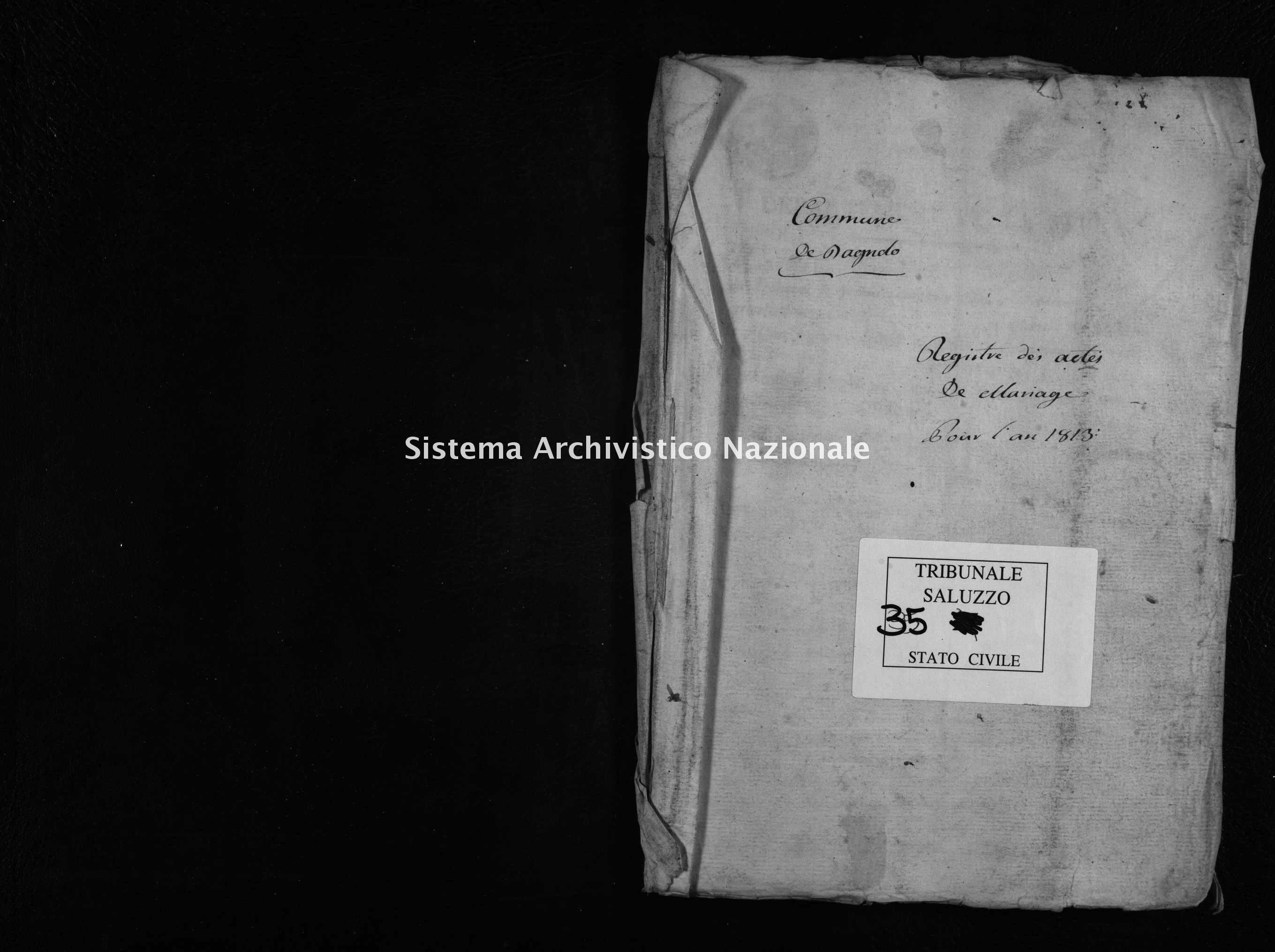 Archivio di stato di Cuneo - Stato civile napoleonico - Bagnolo Piemonte - Matrimoni - 1813 - 35 -