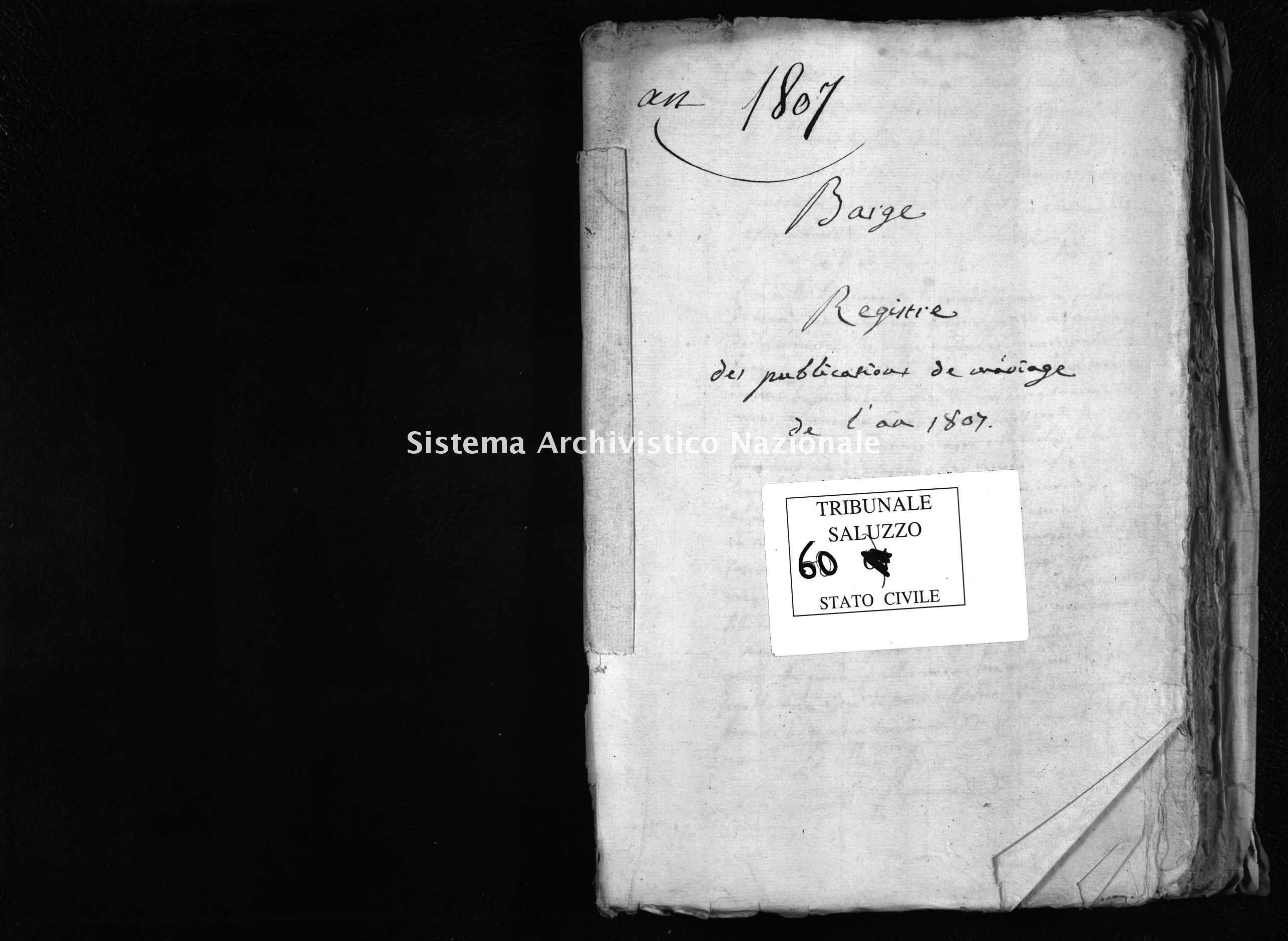 Archivio di stato di Cuneo - Stato civile napoleonico - Barge - Matrimoni, pubblicazioni - 1807 - 60 -