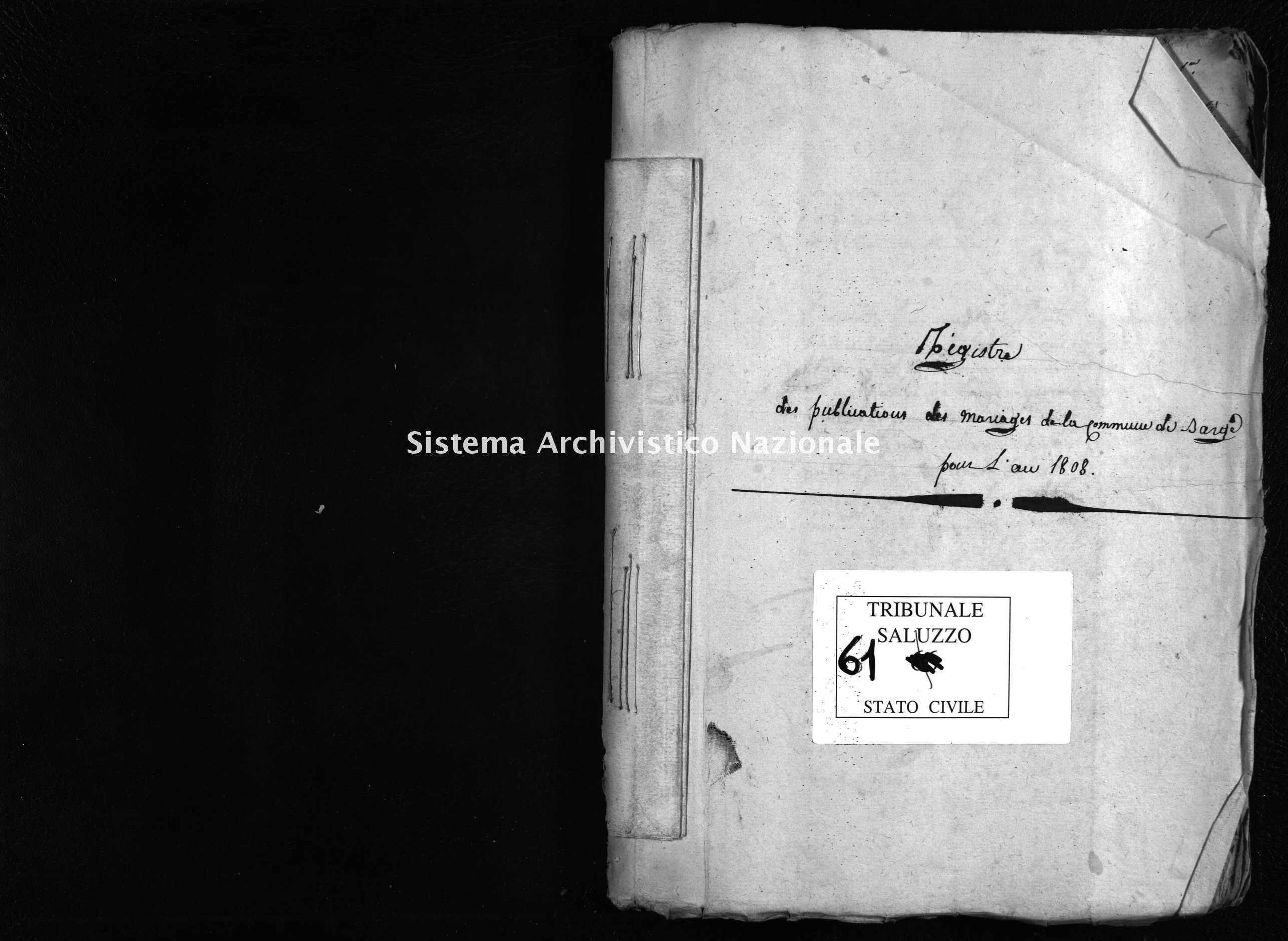 Archivio di stato di Cuneo - Stato civile napoleonico - Barge - Matrimoni, pubblicazioni - 1808 - 61 -