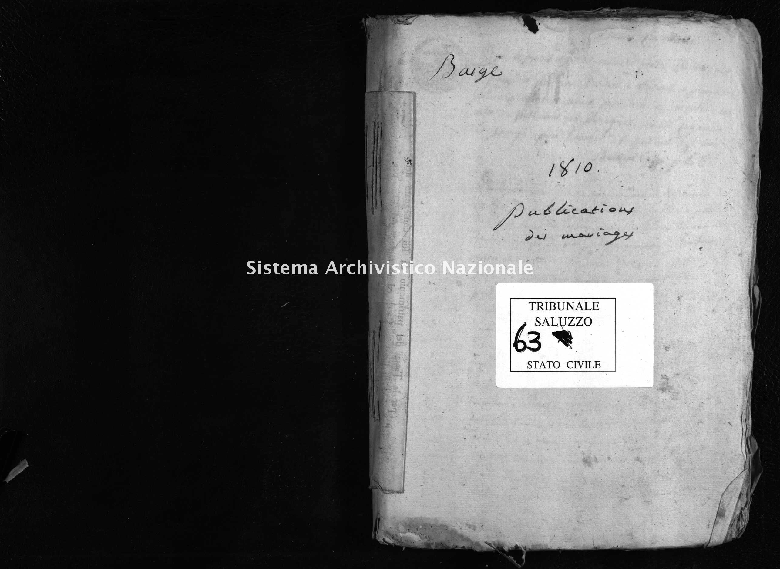Archivio di stato di Cuneo - Stato civile napoleonico - Barge - Matrimoni, pubblicazioni - 1810 - 63 -