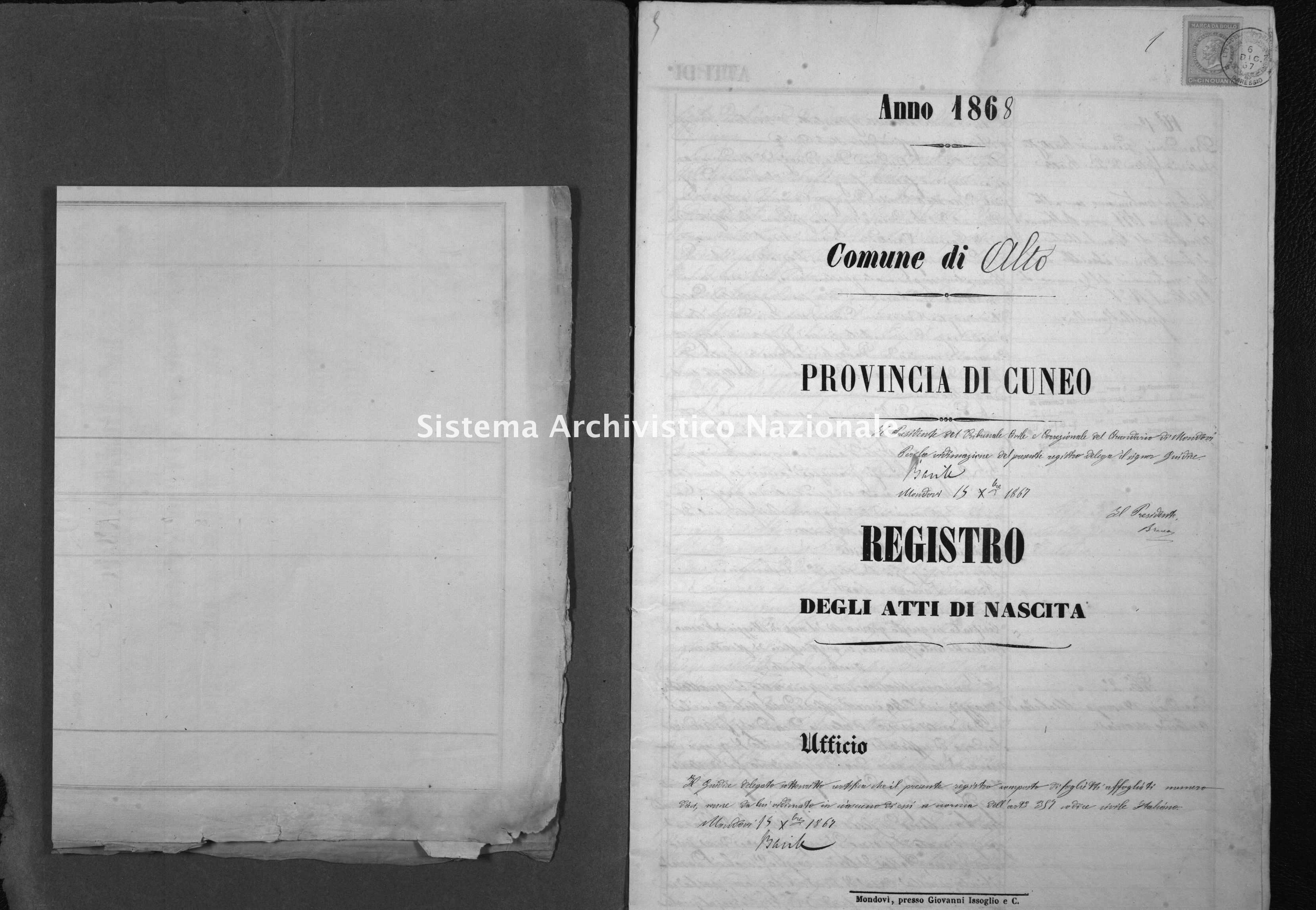 Archivio di stato di Cuneo - Stato civile italiano - Alto - Nati - 1868 -