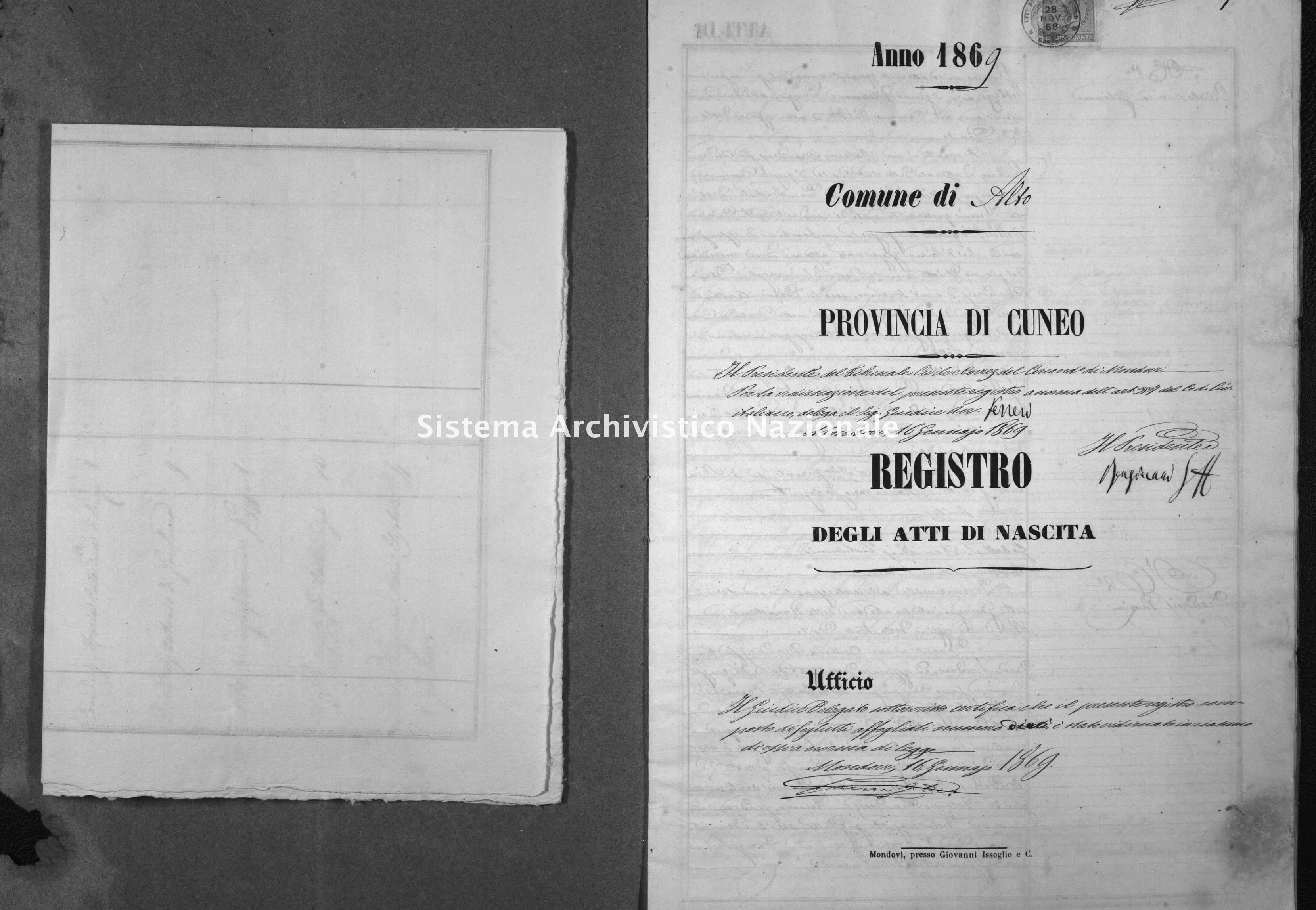 Archivio di stato di Cuneo - Stato civile italiano - Alto - Nati - 1869 -