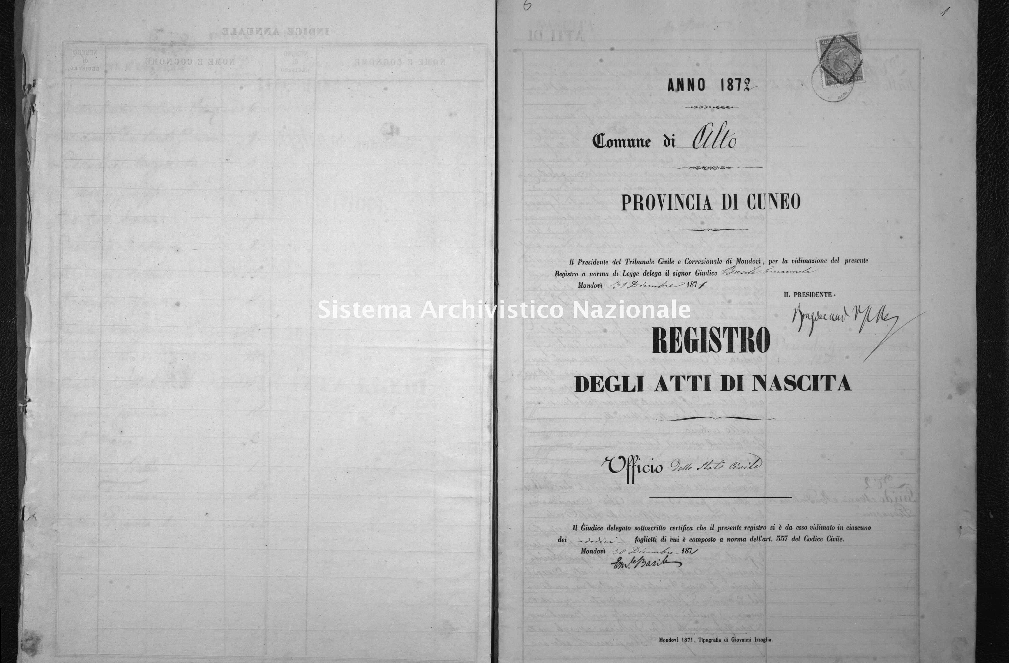 Archivio di stato di Cuneo - Stato civile italiano - Alto - Nati - 1872 -