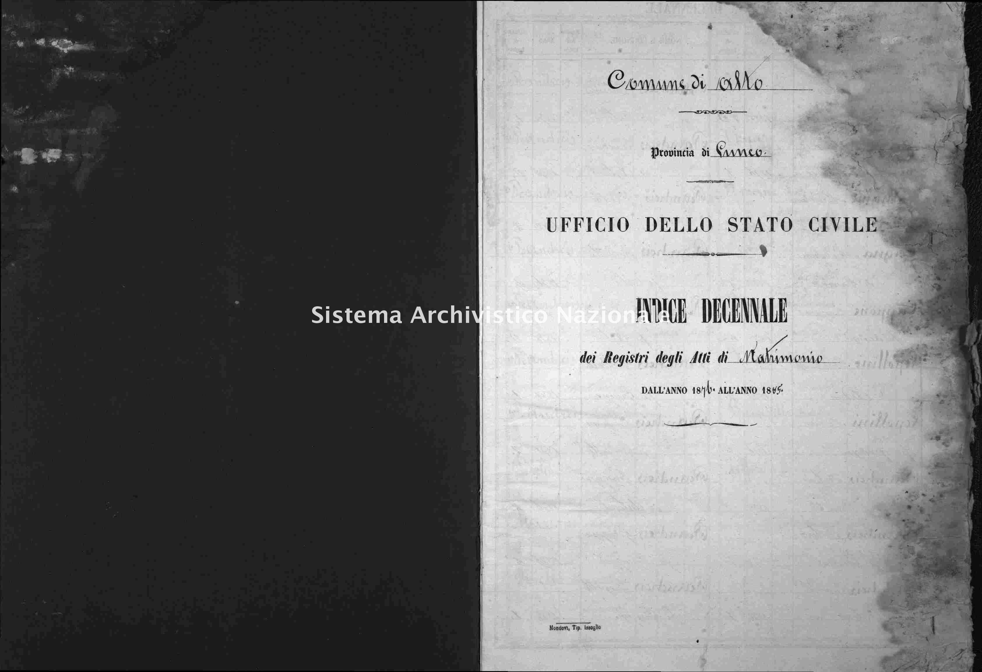 Archivio di stato di Cuneo - Stato civile italiano - Alto - Matrimoni, indici decennali - 1876-1885 -